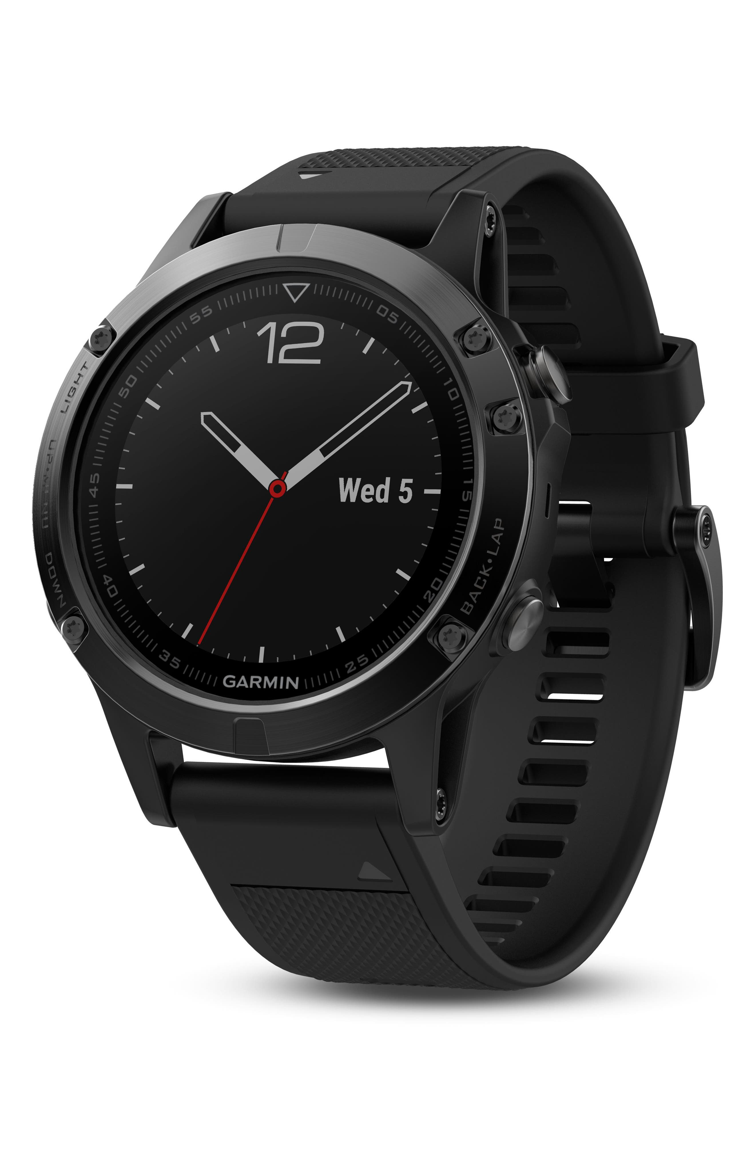 GARMIN, fenix<sup>®</sup> 5 Sapphire Premium Multisport GPS Watch, 47mm, Alternate thumbnail 4, color, BLACK/ BLACK SAPPHIRE