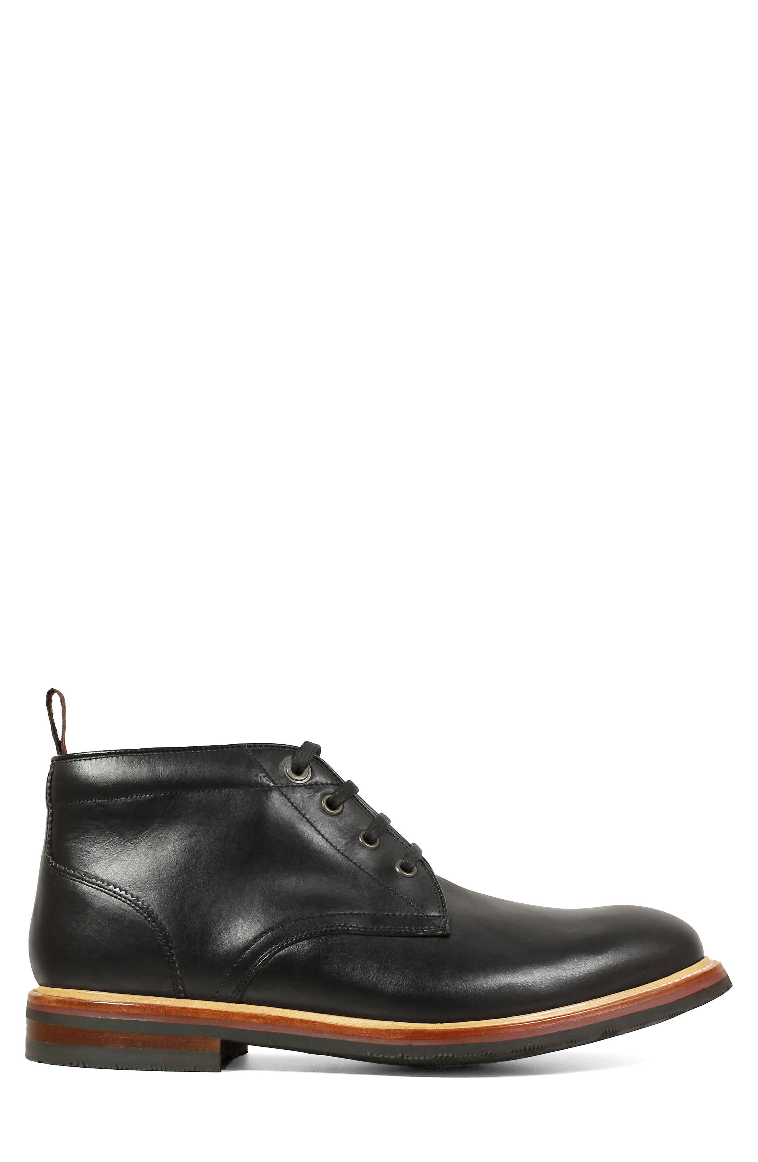 FLORSHEIM, Foundry Leather Boot, Alternate thumbnail 3, color, BLACK LEATHER