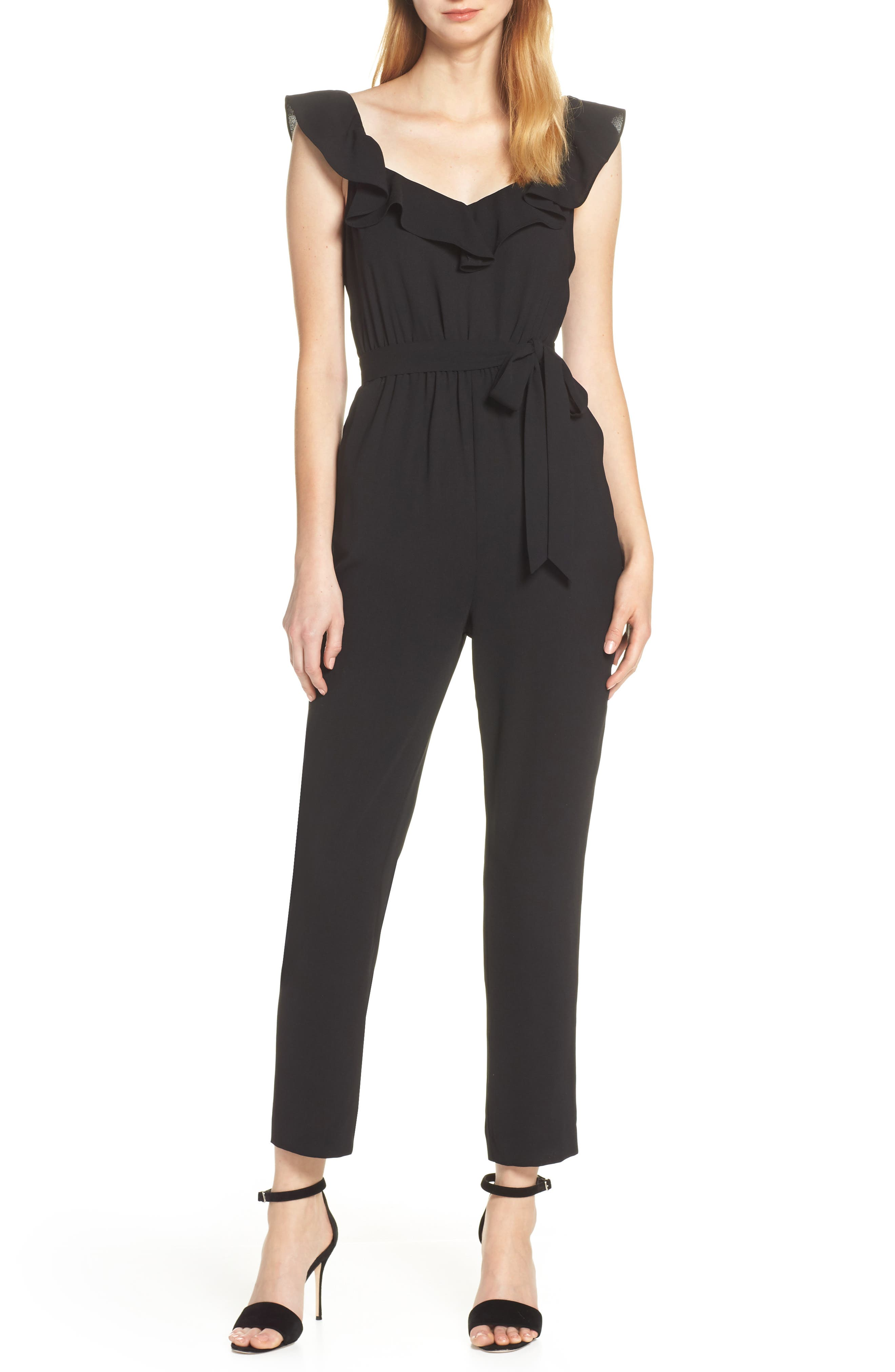 ALI & JAY, Say You Will Stay Crepe Jumpsuit, Main thumbnail 1, color, BLACK
