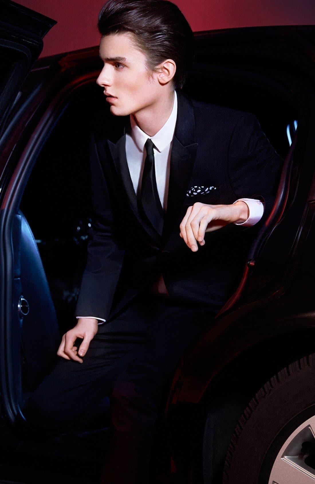 TOPMAN, Black Textured Skinny Fit Tuxedo Jacket, Alternate thumbnail 6, color, 001