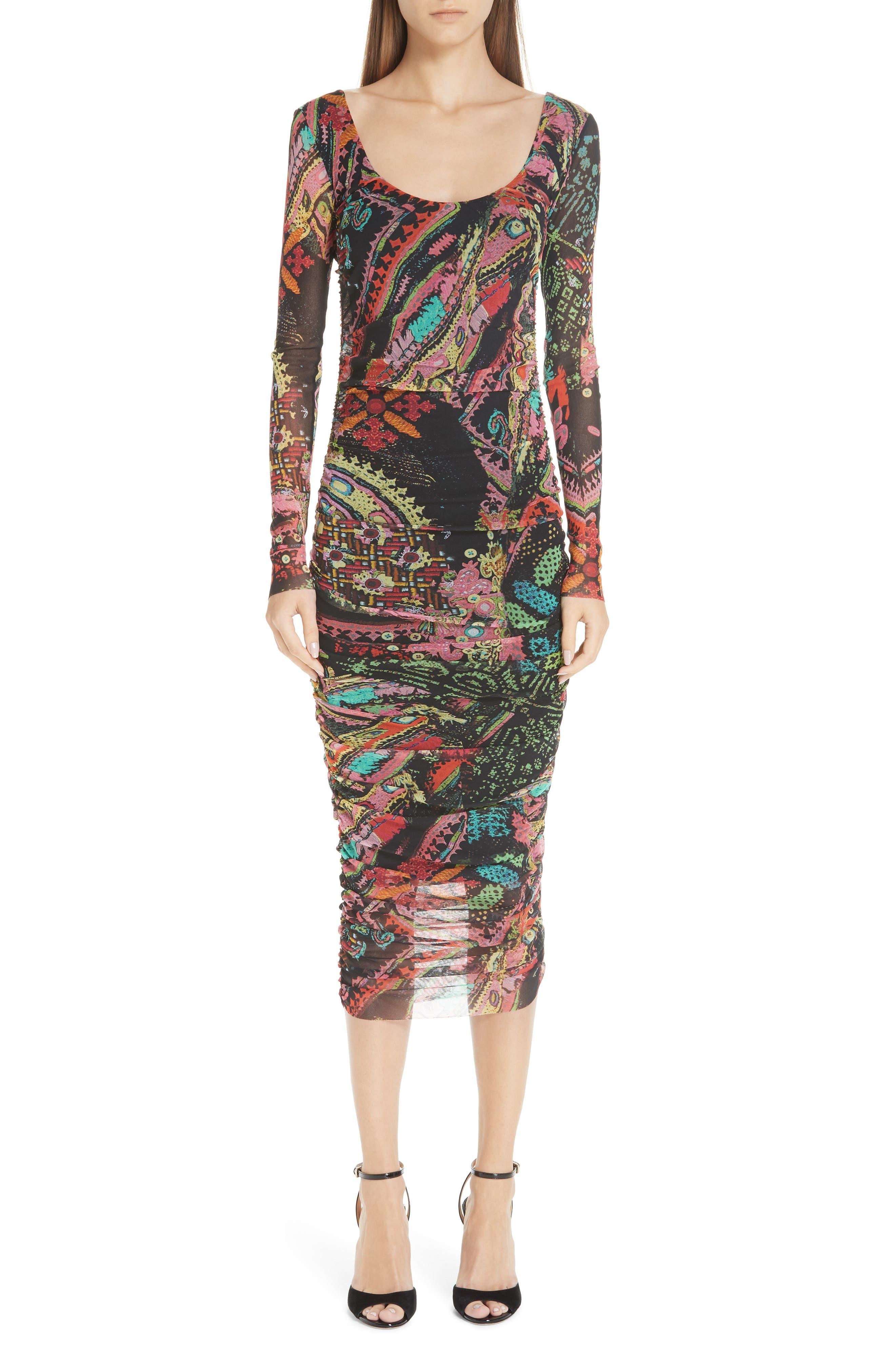 Fuzzi Print Tulle Scoop Neck Dress, Black