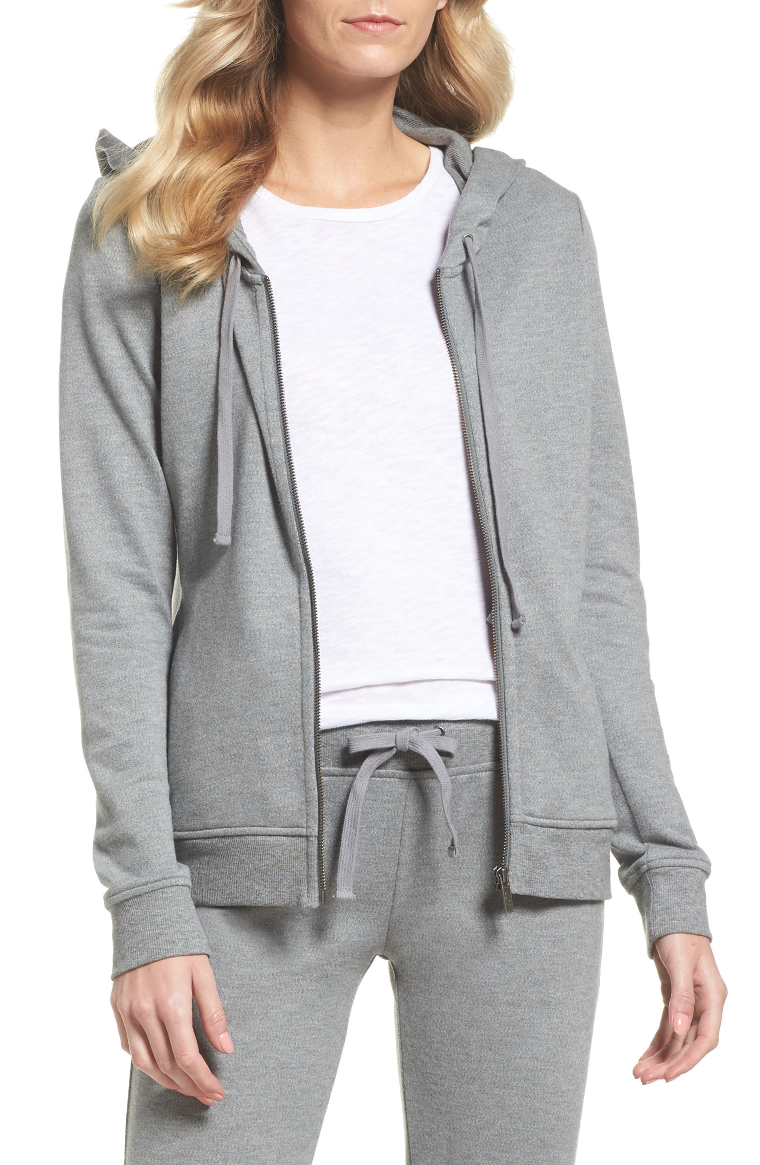 UGG<SUP>®</SUP>, Clara Zip Hoodie, Main thumbnail 1, color, GREY HEATHER