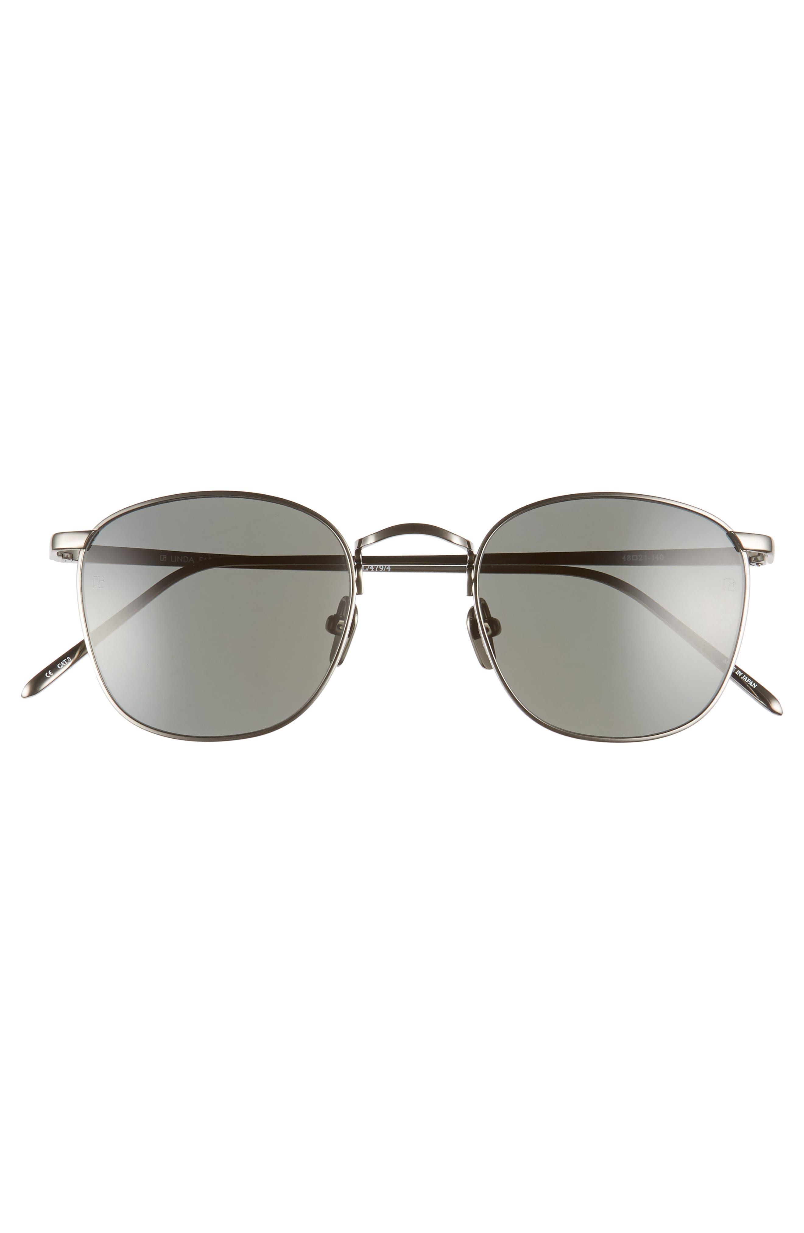 LINDA FARROW, 48mm Square Sunglasses, Alternate thumbnail 3, color, DARK NICKEL