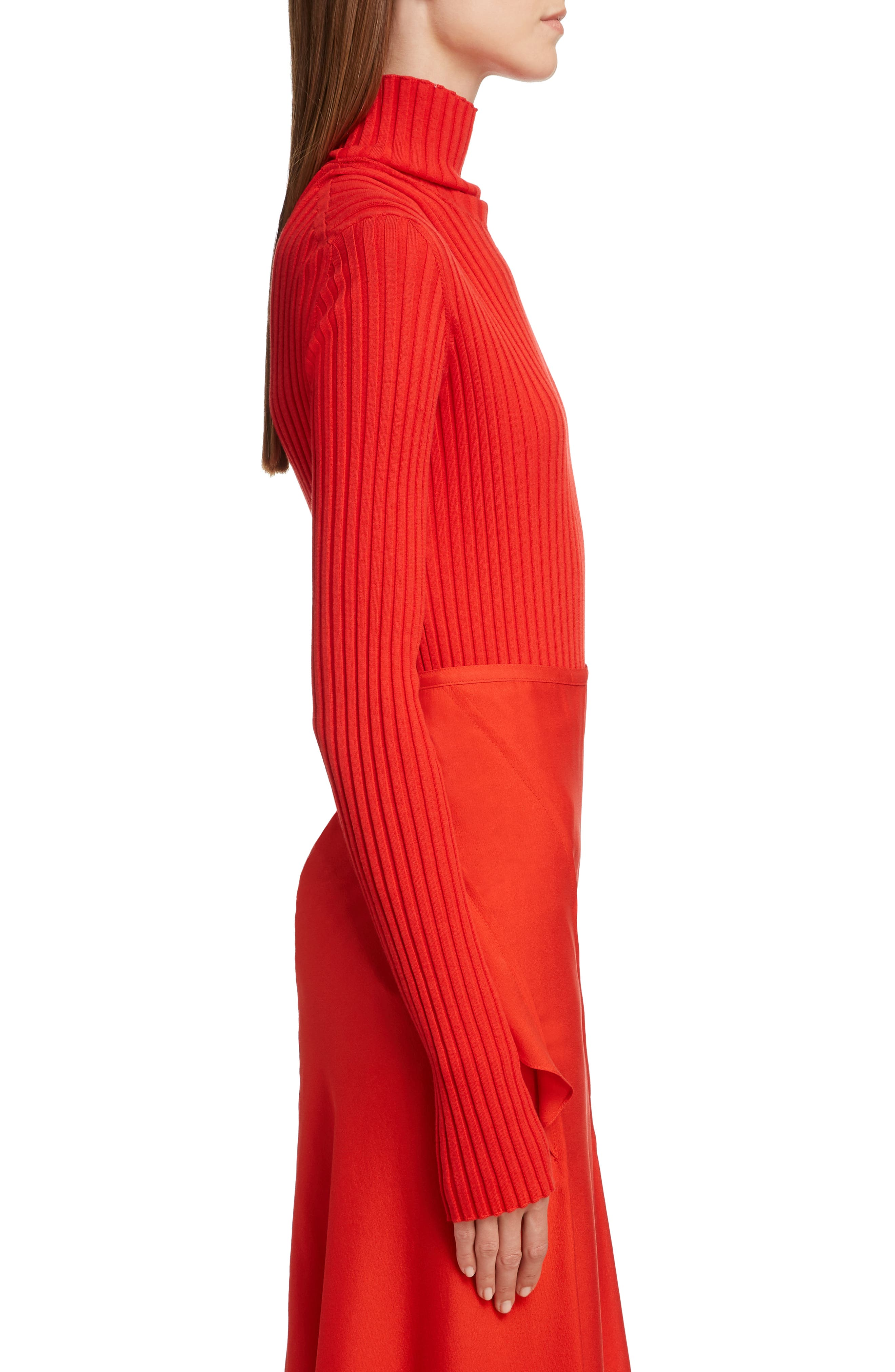 VICTORIA BECKHAM, Gathered Sleeve Rib Knit Turtleneck Sweater, Alternate thumbnail 3, color, BRIGHT RED