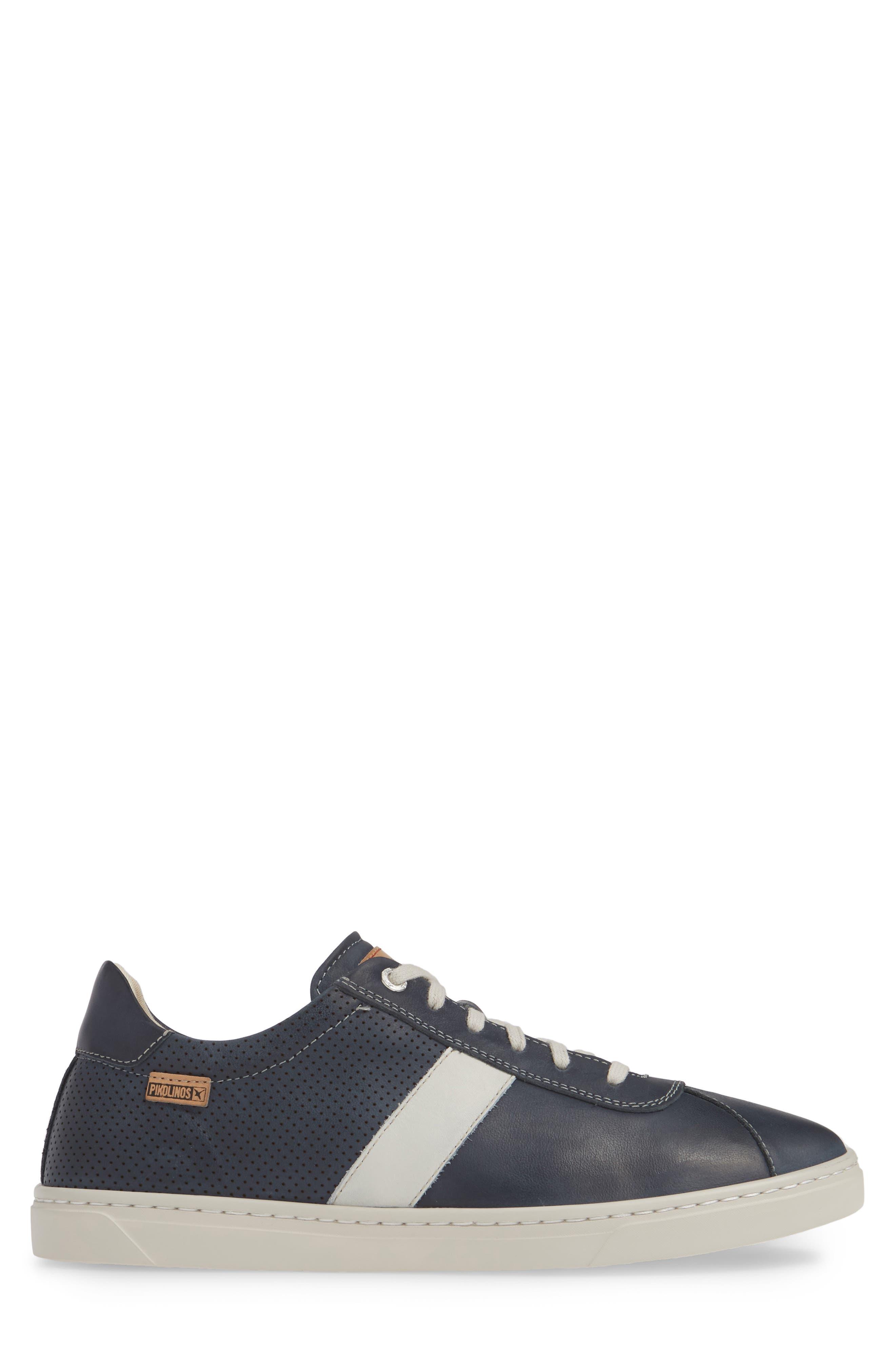 PIKOLINOS, Belfort Perforated Sneaker, Alternate thumbnail 3, color, BLUE
