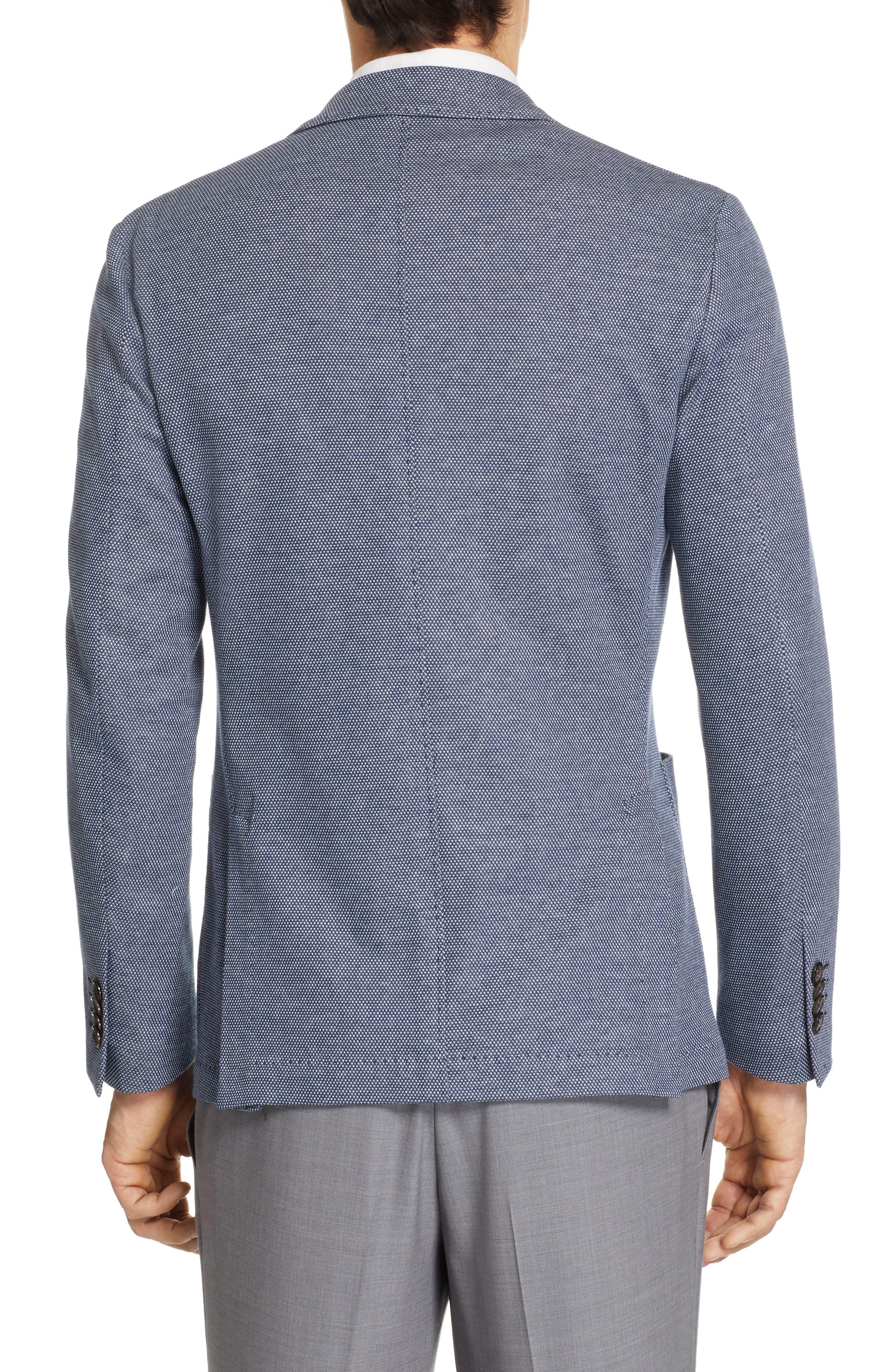 CANALI, Classic Fit Cotton Blend Sport Coat, Alternate thumbnail 2, color, NAVY