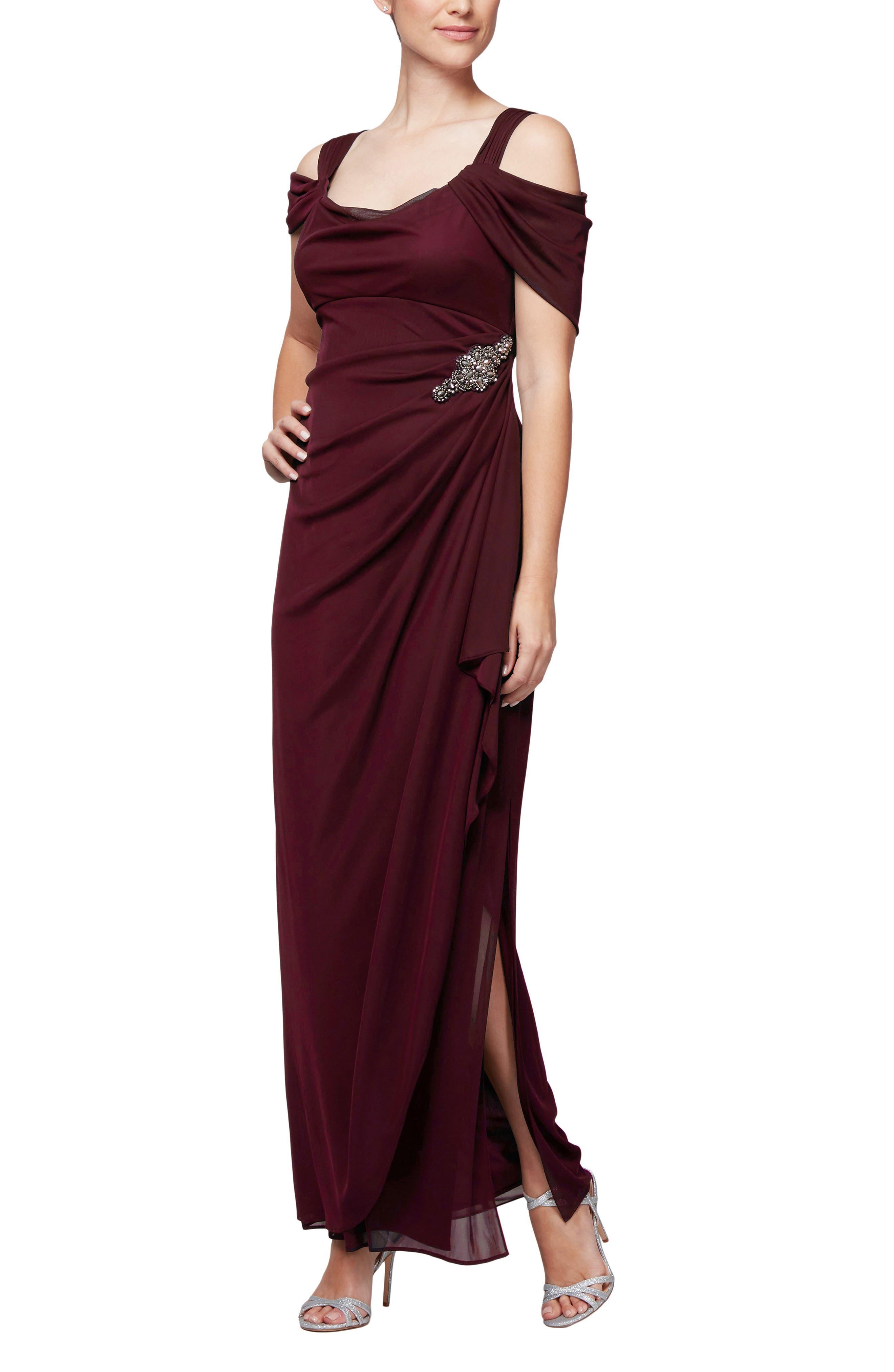 Alex Evenings Embellished Cold Shoulder Gown, Burgundy