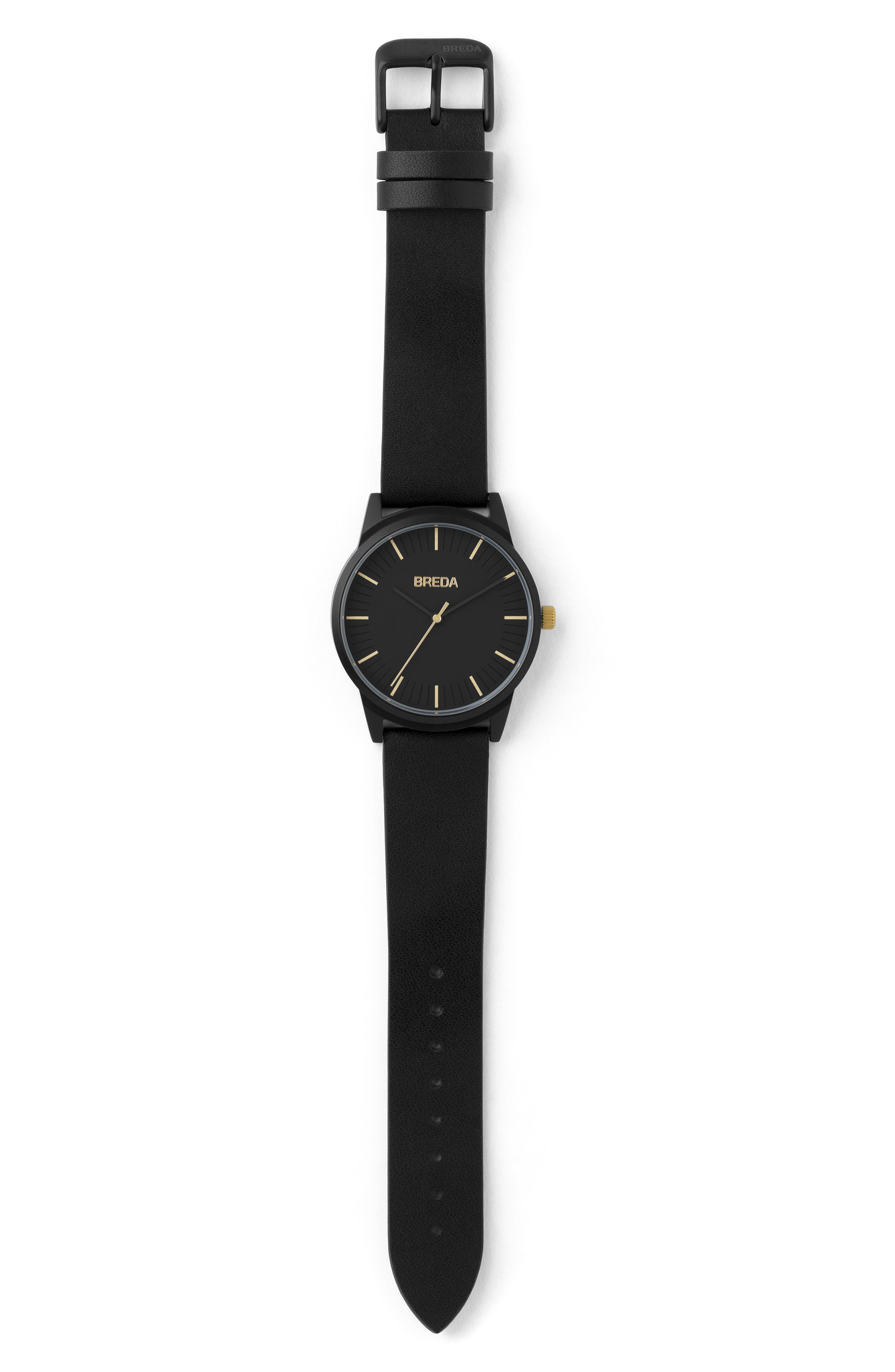 BREDA, Bresson Leather Strap Watch, 39mm, Alternate thumbnail 2, color, 001