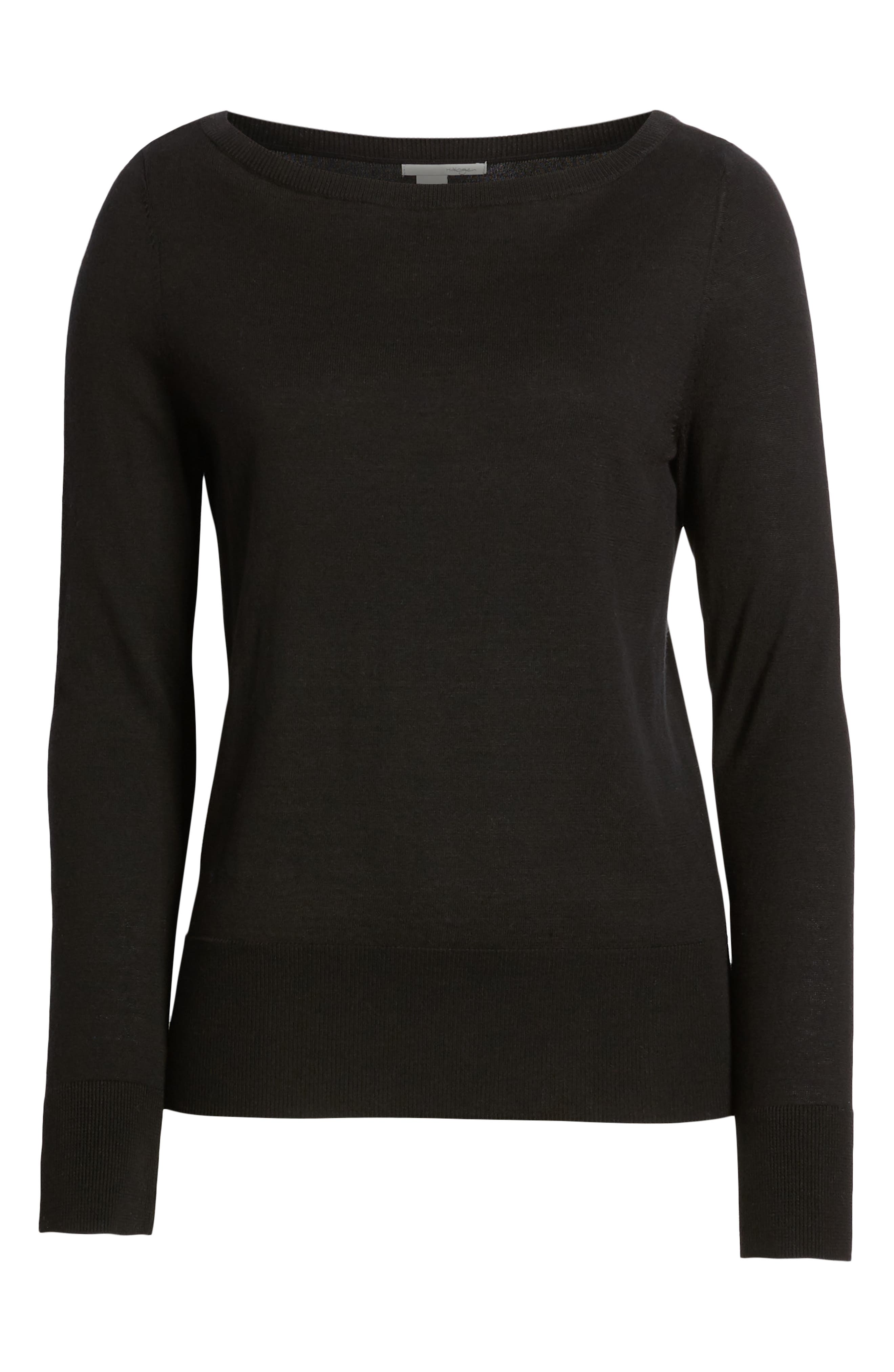HALOGEN<SUP>®</SUP>, Bateau Neck Sweater, Alternate thumbnail 6, color, BLACK