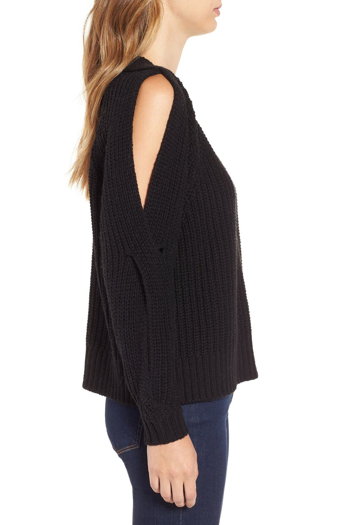 LEITH, Ribbed Cold Shoulder Sweater, Alternate thumbnail 3, color, 001