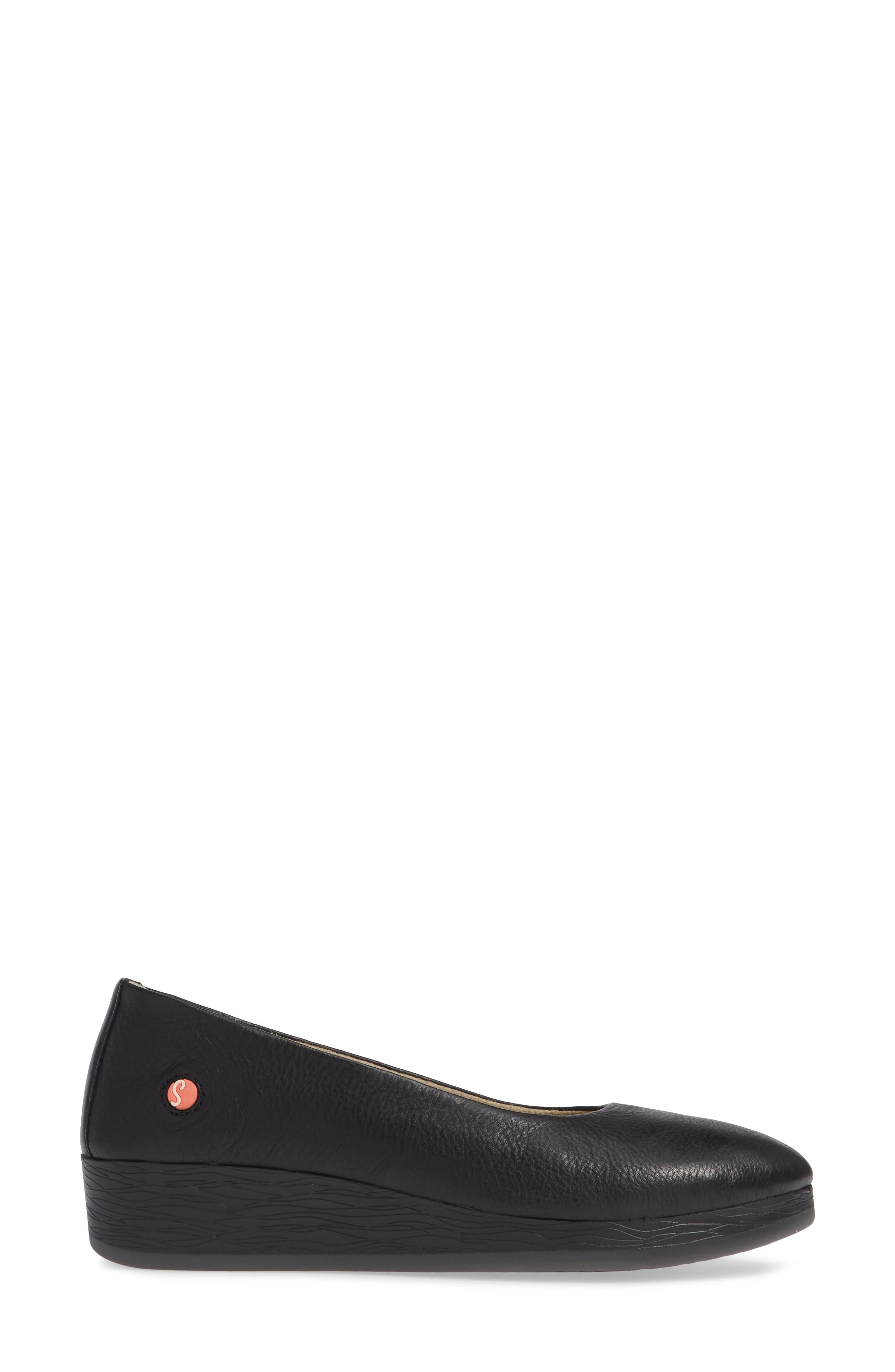 SOFTINOS BY FLY LONDON, Asa Soft Flat, Alternate thumbnail 3, color, BLACK SMOOTH LEATHER