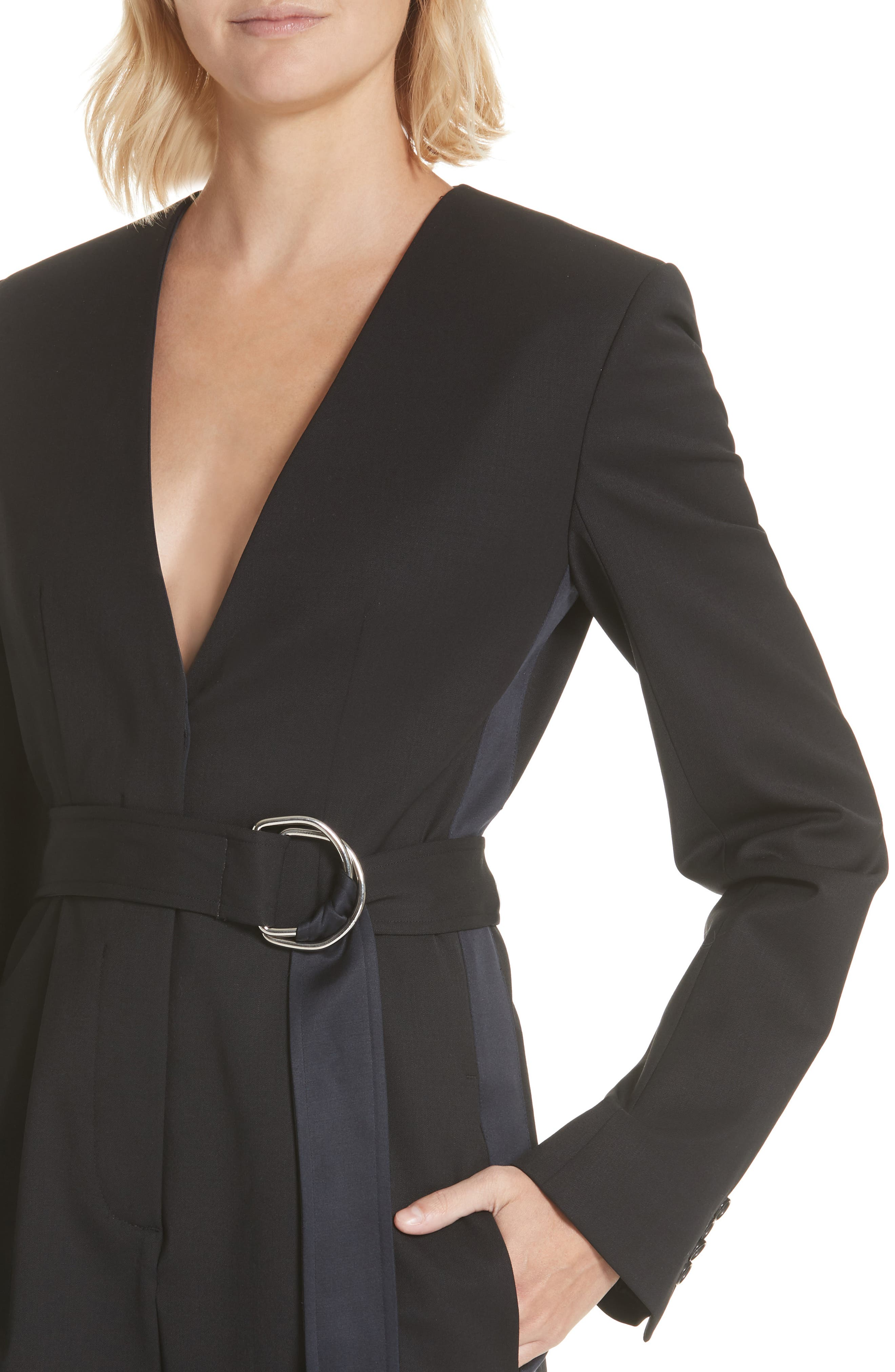 CALVIN KLEIN 205W39NYC, Side Stripe Wool Blend Jumpsuit, Alternate thumbnail 5, color, BLACK DARK NAVY