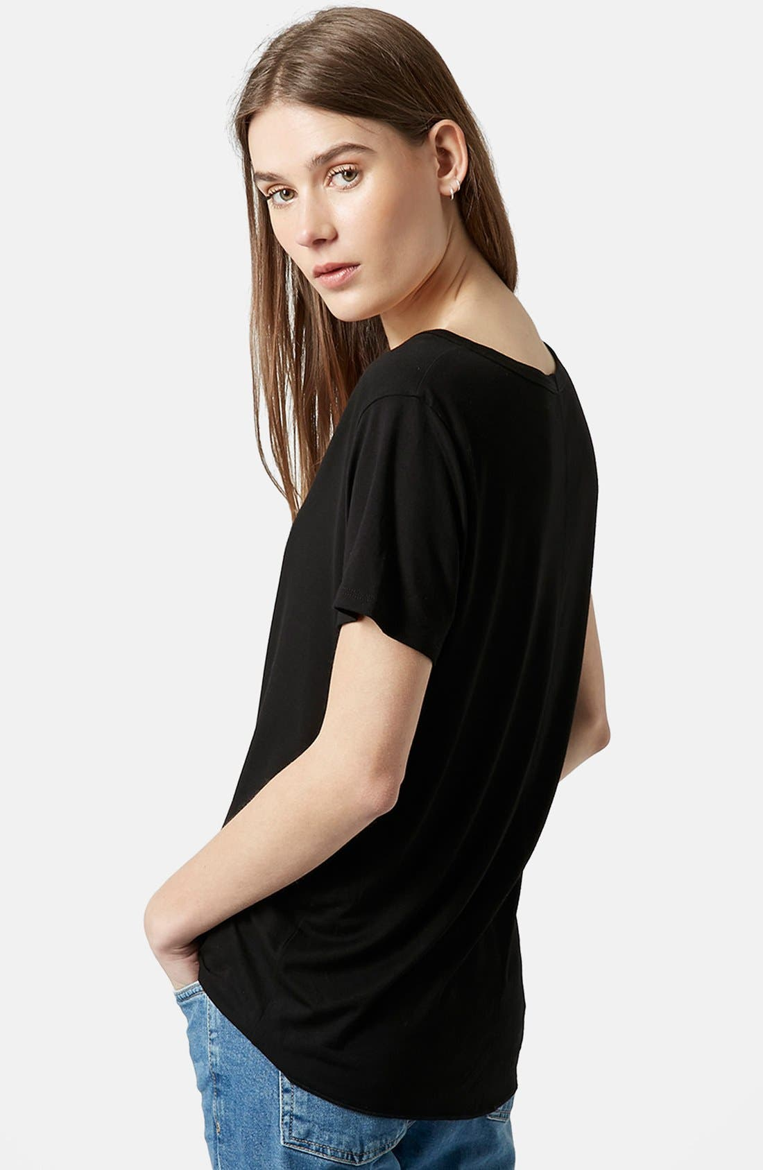 TOPSHOP, Short Sleeve V-Neck Tee, Alternate thumbnail 5, color, 001