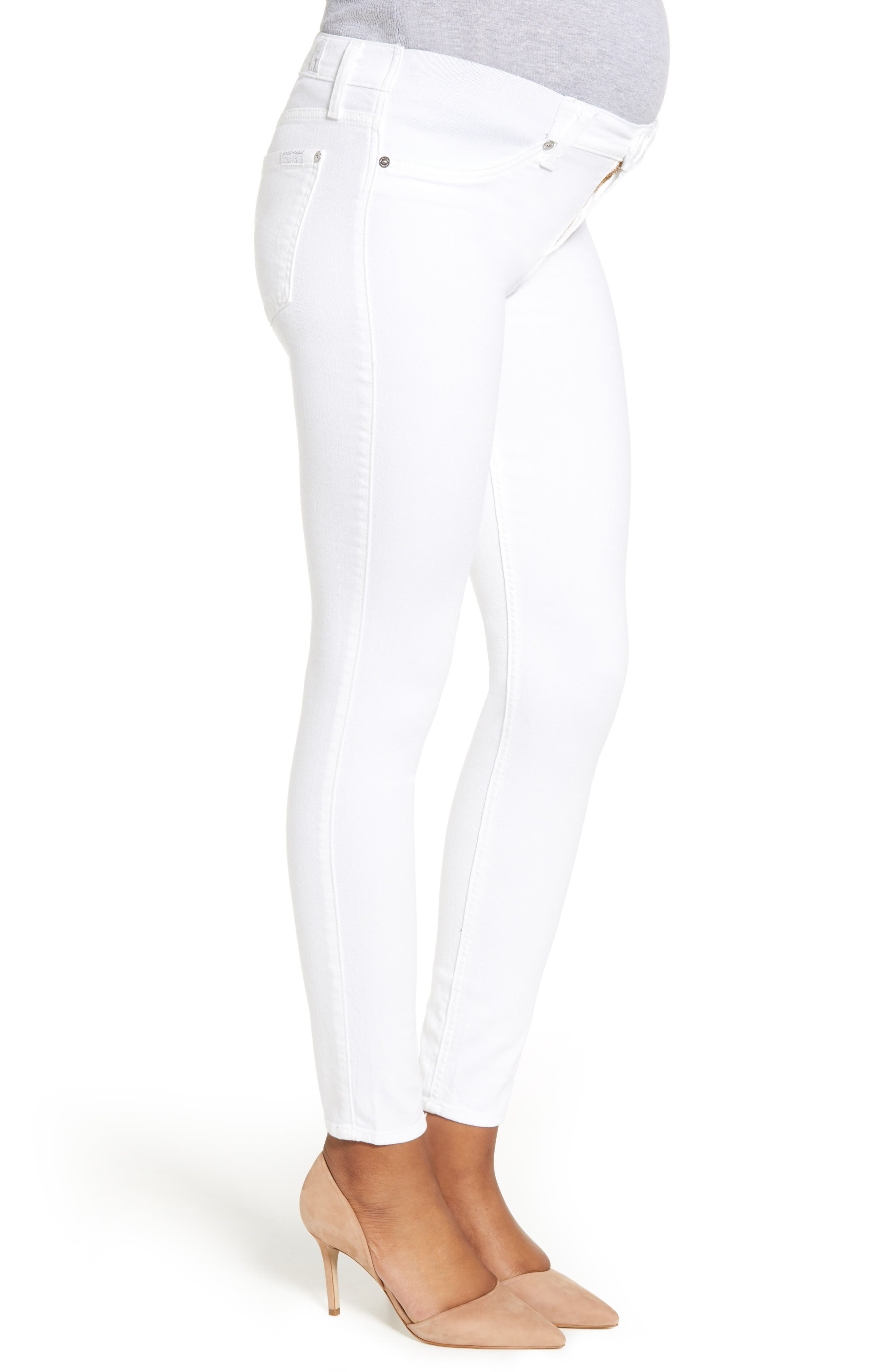 7 FOR ALL MANKIND<SUP>®</SUP>, The Ankle Skinny Maternity Jeans, Alternate thumbnail 4, color, CLEAN WHITE