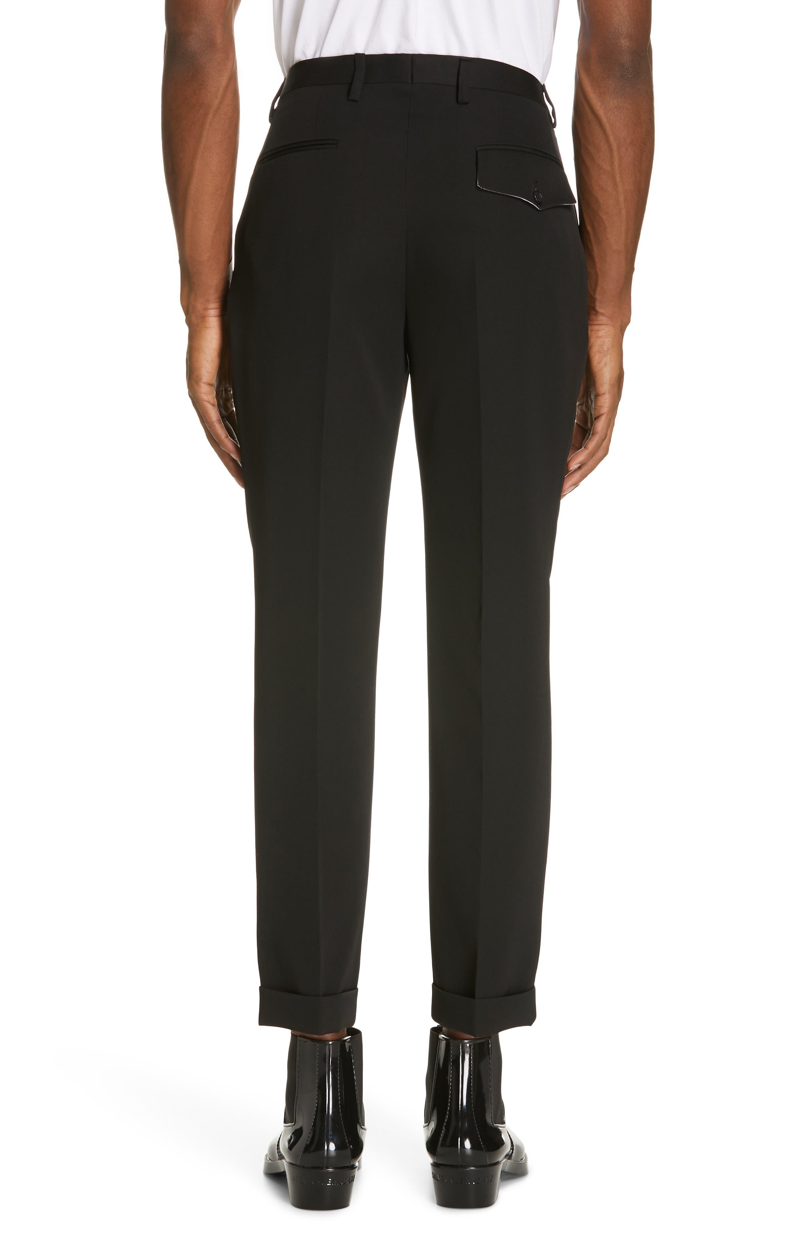CALVIN KLEIN 205W39NYC, Pleated Gabardine Wool Trousers, Alternate thumbnail 2, color, BLACK