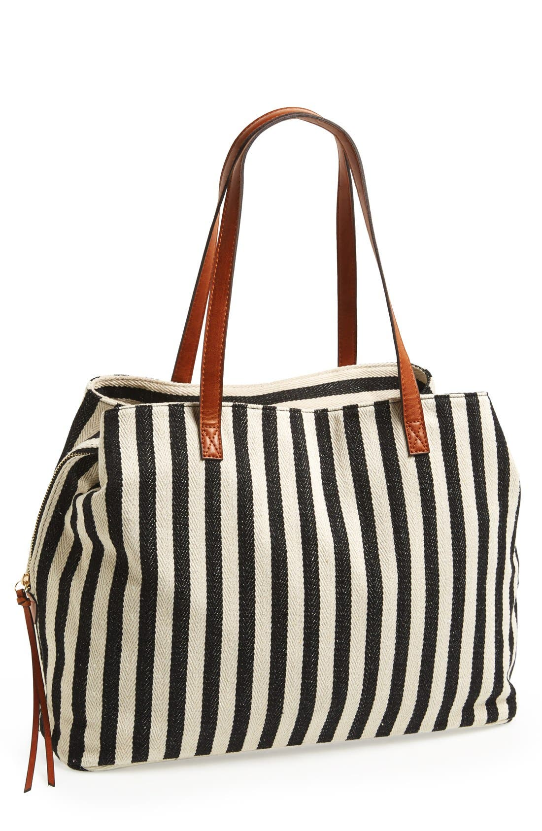 SOLE SOCIETY, Oversize Millie Stripe Print Tote, Main thumbnail 1, color, BLACK WHITE STRIPE