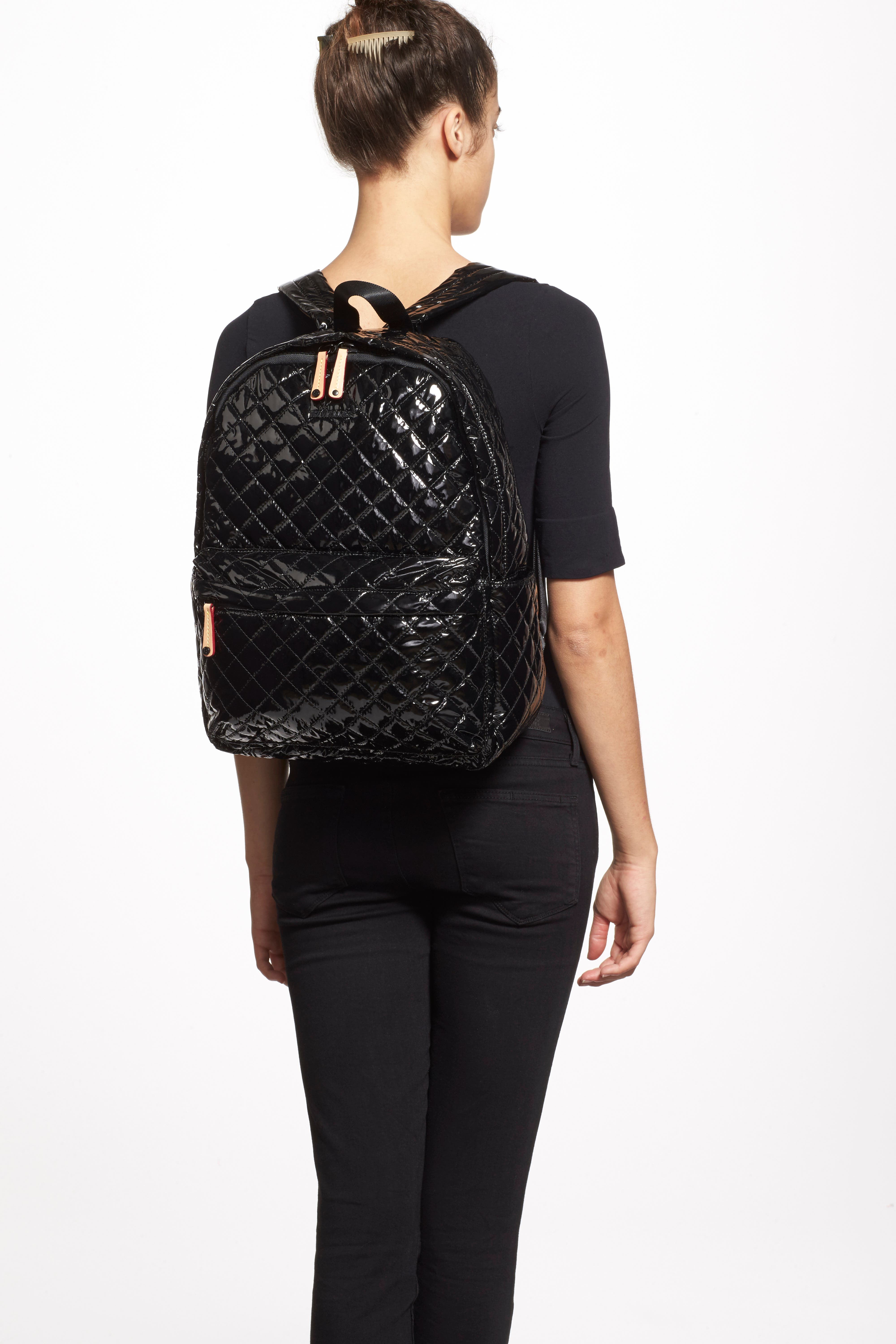 MZ WALLACE, Metro Backpack, Alternate thumbnail 7, color, BLACK LACQUER QUILTED