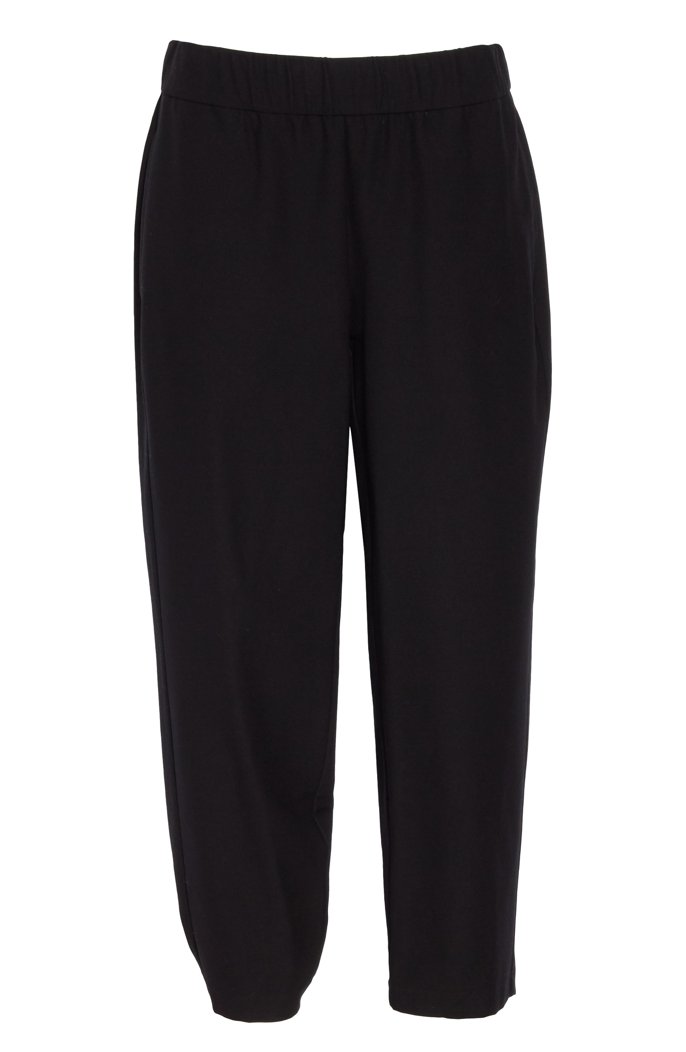 EILEEN FISHER, Tapered Ankle Pants, Alternate thumbnail 7, color, BLACK