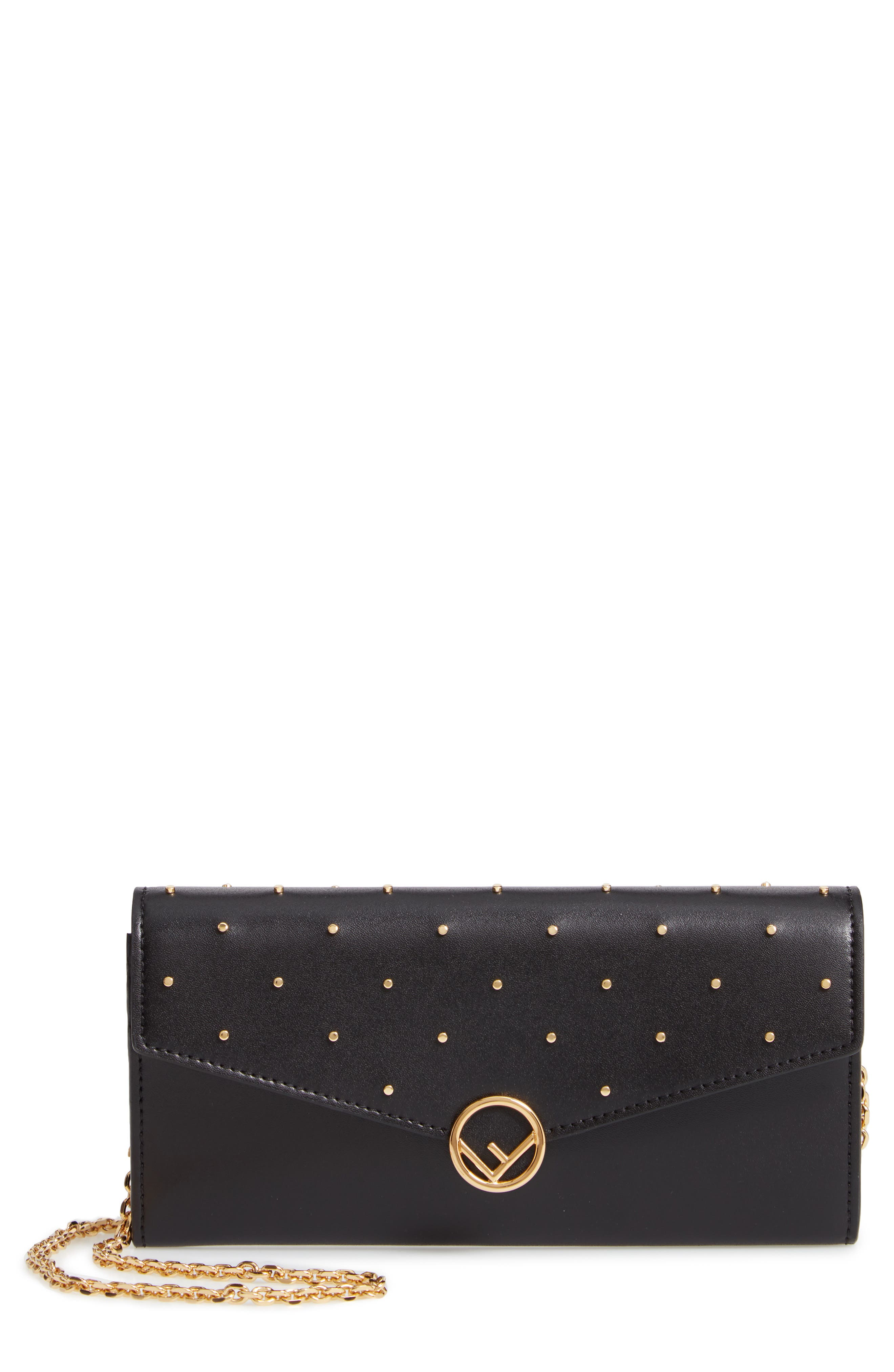 FENDI, Studded Calfskin Leather Continental Wallet on a Chain, Main thumbnail 1, color, 006