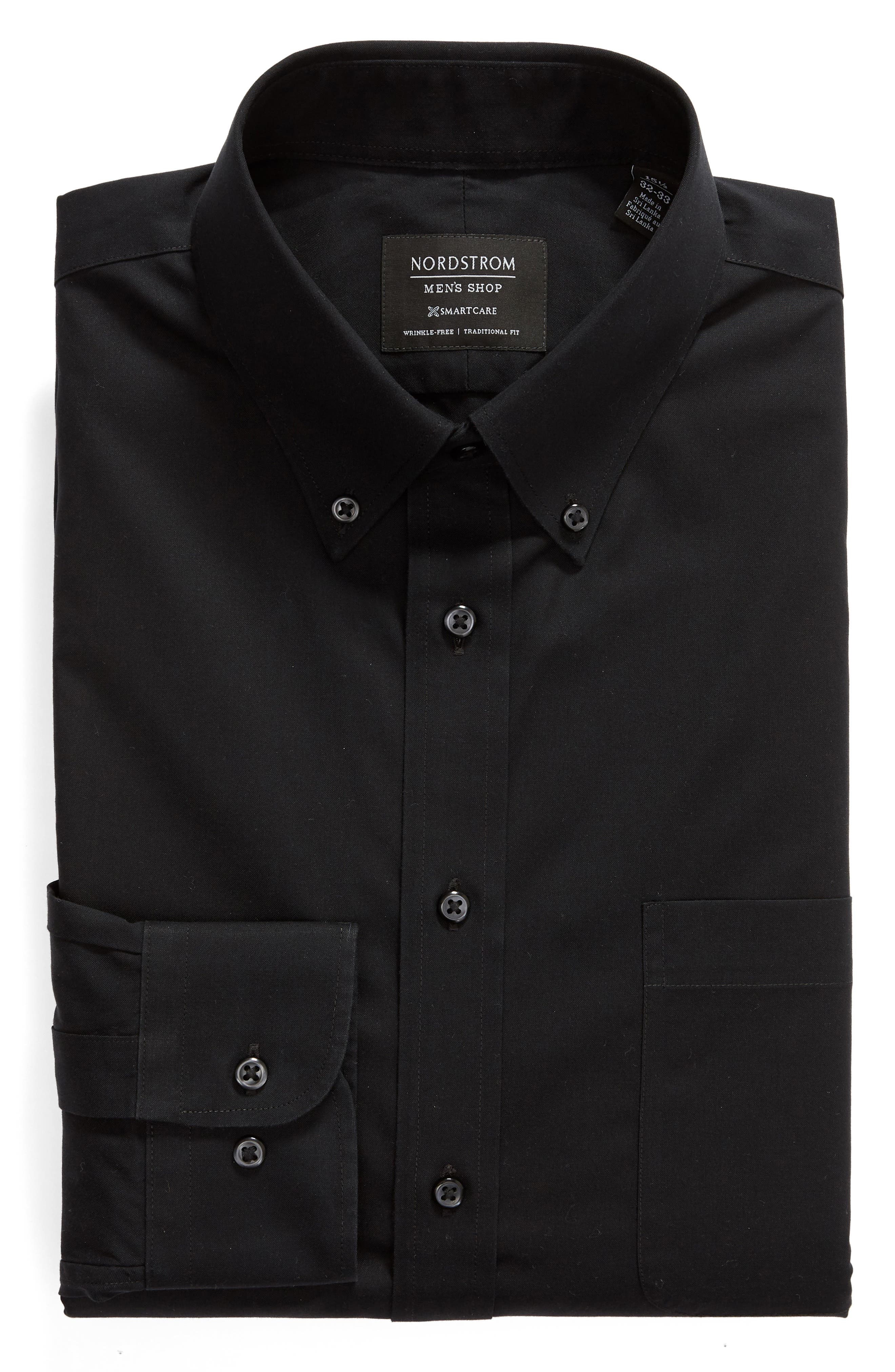 NORDSTROM MEN'S SHOP, Smartcare<sup>™</sup> Traditional Fit Pinpoint Dress Shirt, Alternate thumbnail 5, color, BLACK ROCK