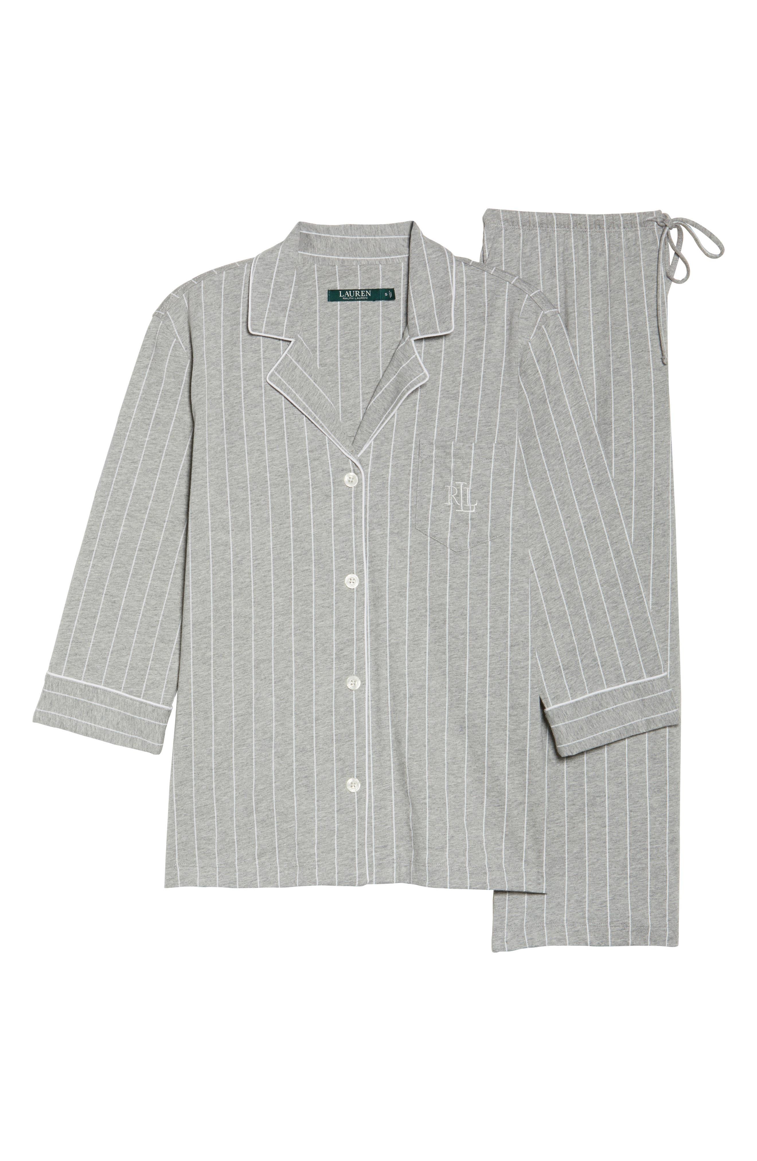 LAUREN RALPH LAUREN, Knit Crop Pajamas, Alternate thumbnail 6, color, GREYSTONE