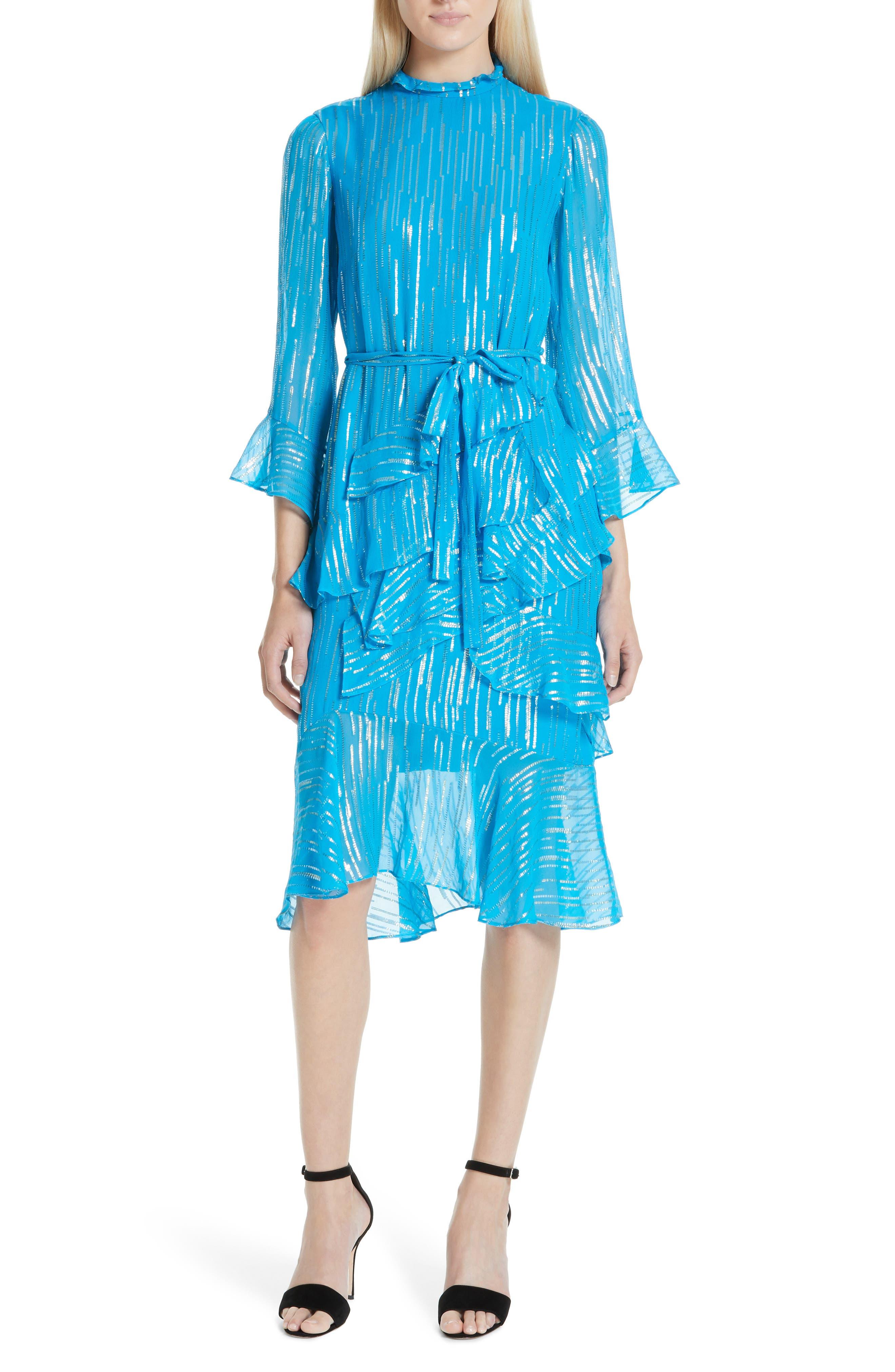 SALONI, Marissa Metallic Ruffle Dress, Main thumbnail 1, color, TURQUOISE/ METALLIC