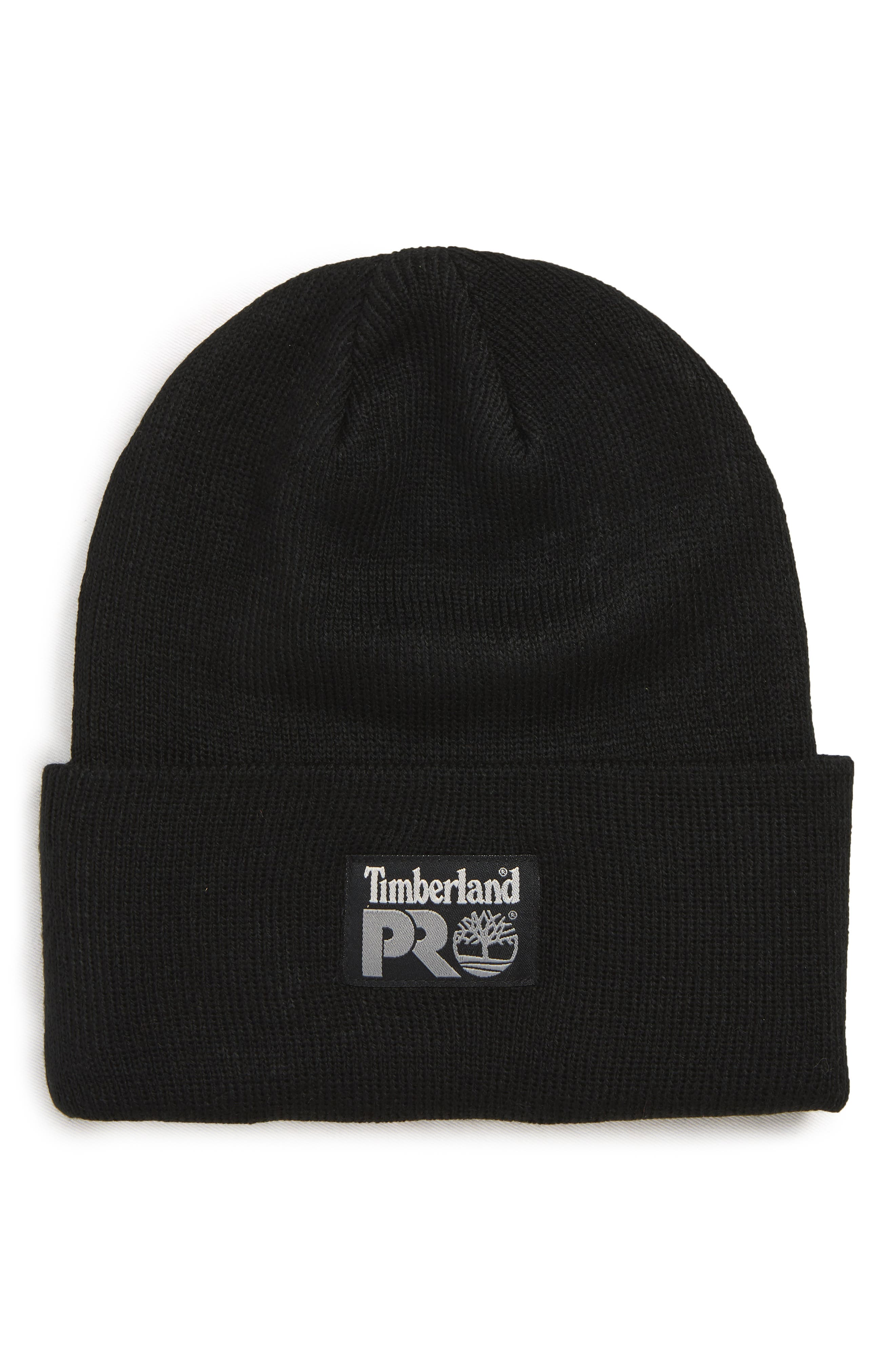 TIMBERLAND Pro Logo Patch Beanie, Main, color, BLACK