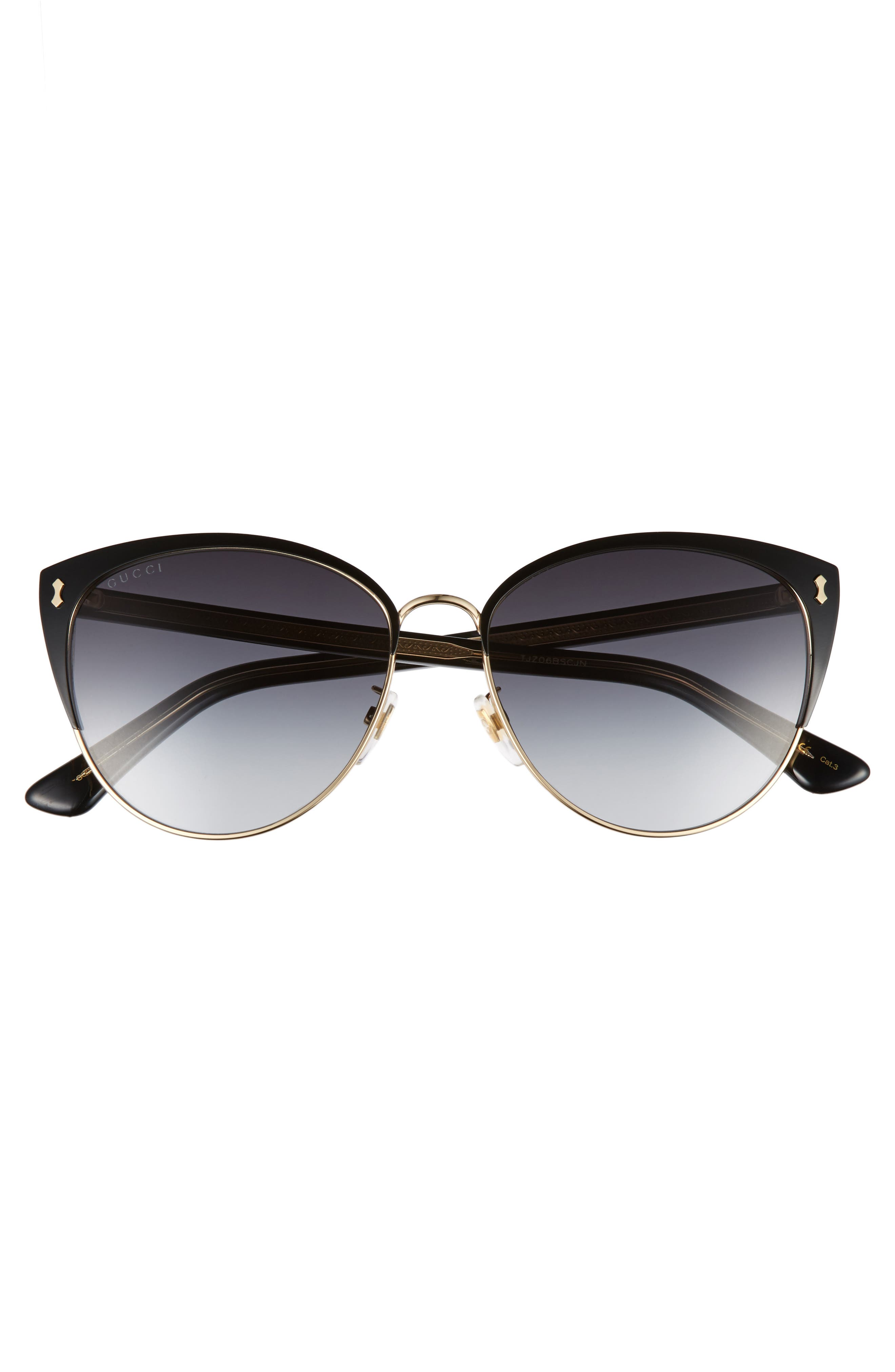 GUCCI, 58mm Cat Eye Sunglasses, Alternate thumbnail 3, color, BLACK