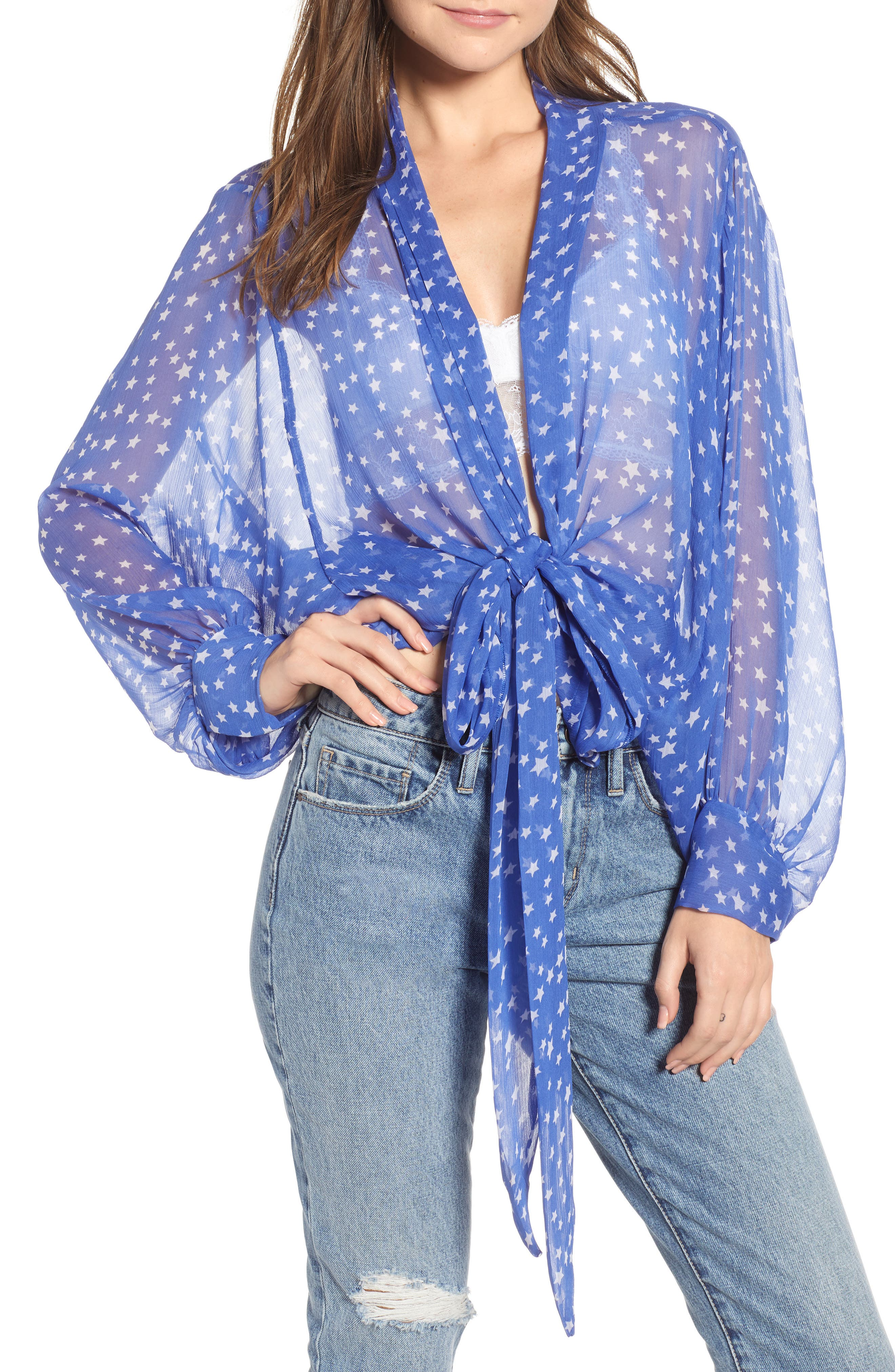 FREE PEOPLE, Star Dazed Scarf Wrap, Main thumbnail 1, color, BLUE