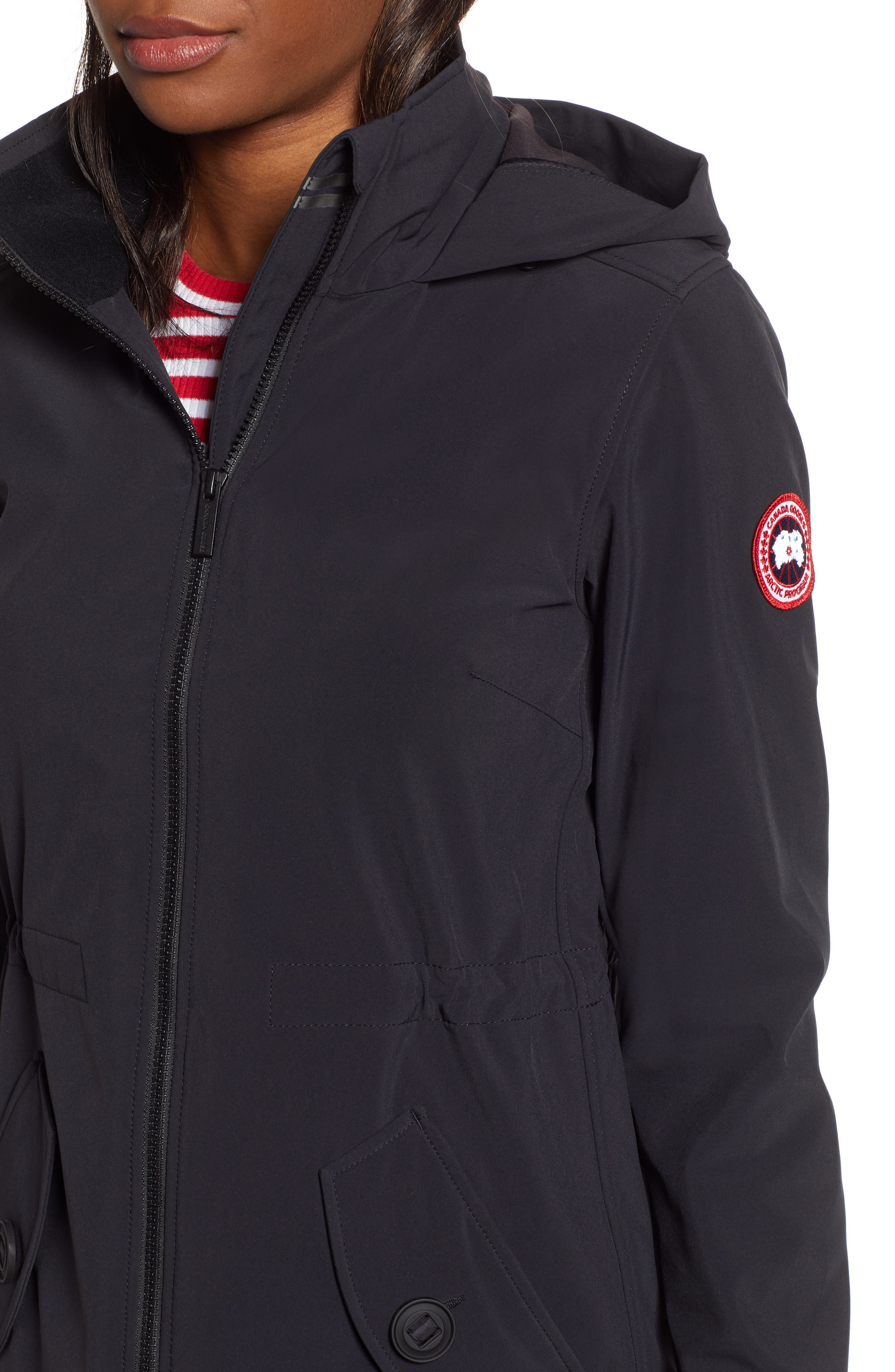 CANADA GOOSE, Avery Water Resistant Hooded Jacket, Alternate thumbnail 5, color, BLACK