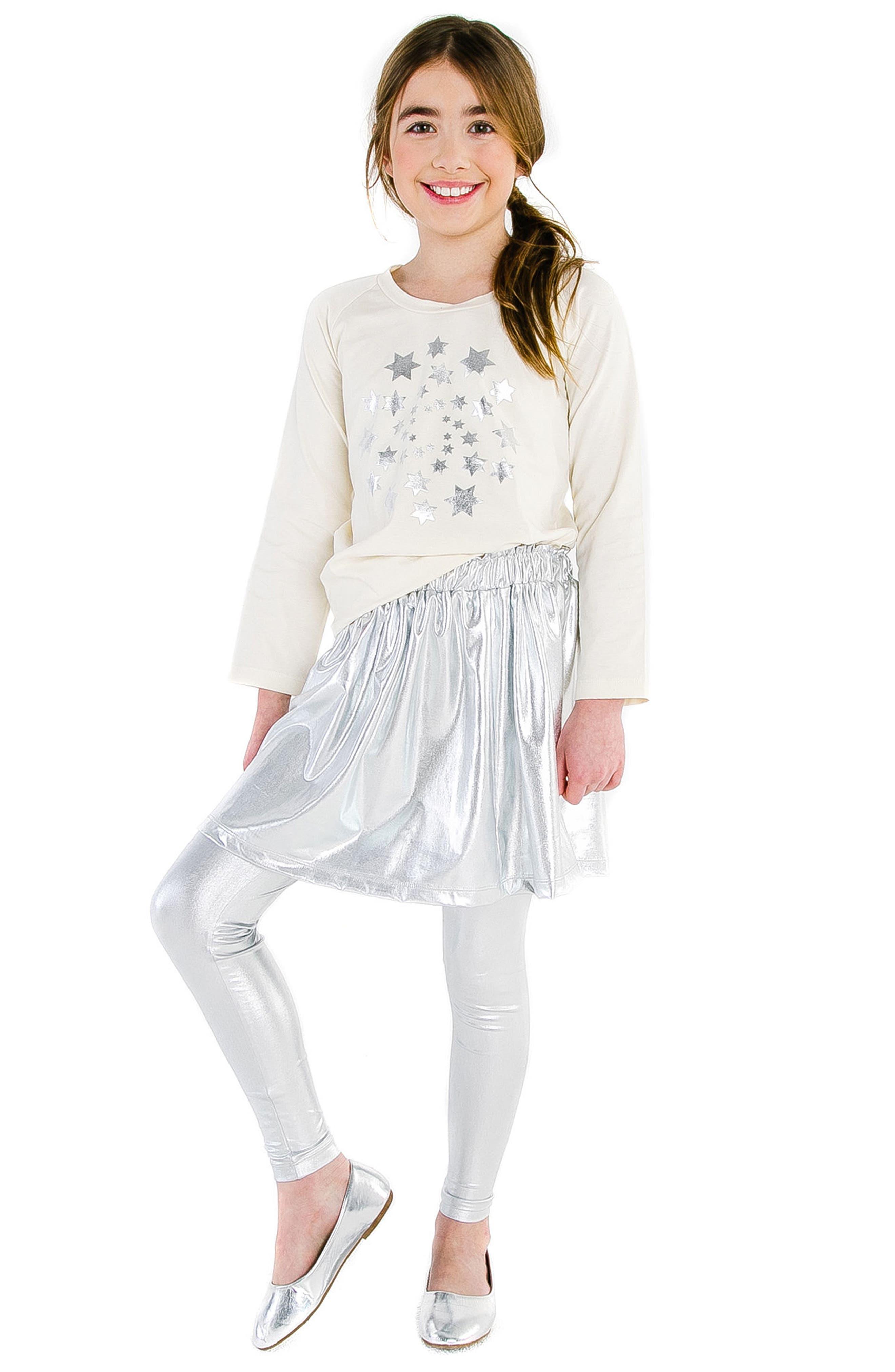 MASALA BABY, Silver Metallic Skirt, Alternate thumbnail 2, color, 040