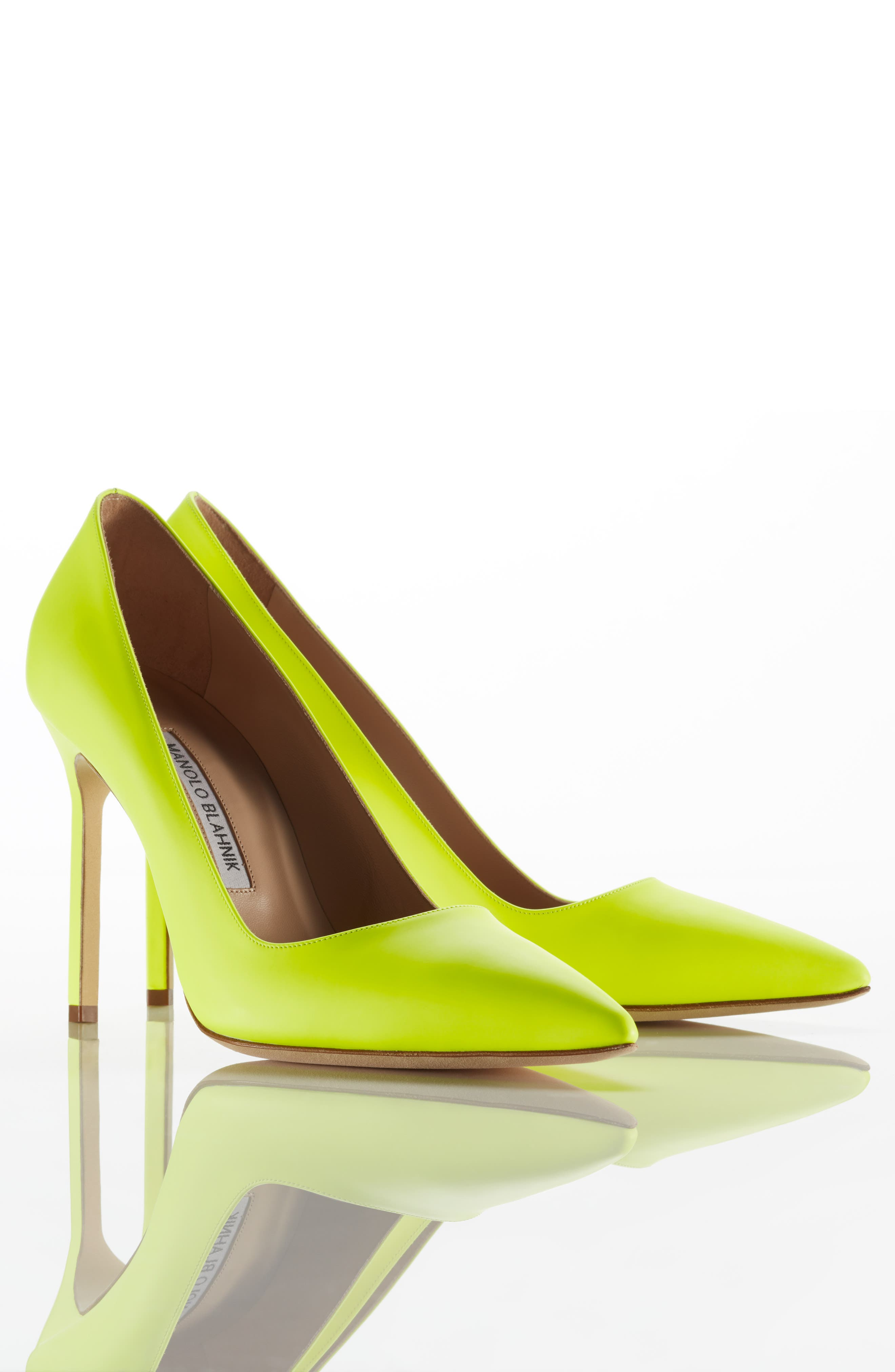 MANOLO BLAHNIK, 'BB' Pointy Toe Pump, Alternate thumbnail 10, color, YELLOW PATENT