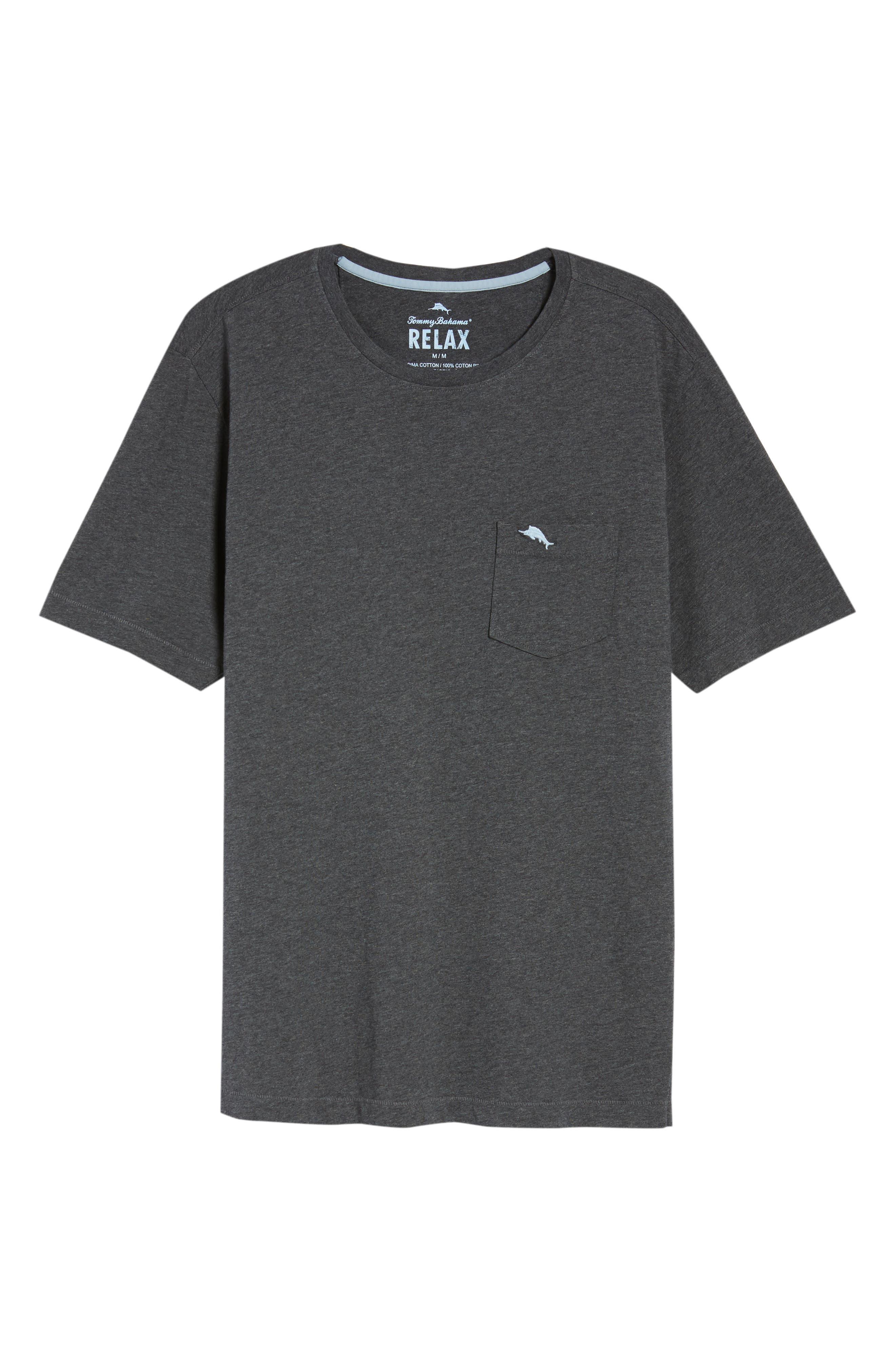 TOMMY BAHAMA, 'New Bali Sky' Original Fit Crewneck Pocket T-Shirt, Alternate thumbnail 6, color, CHARCOAL HEATHER
