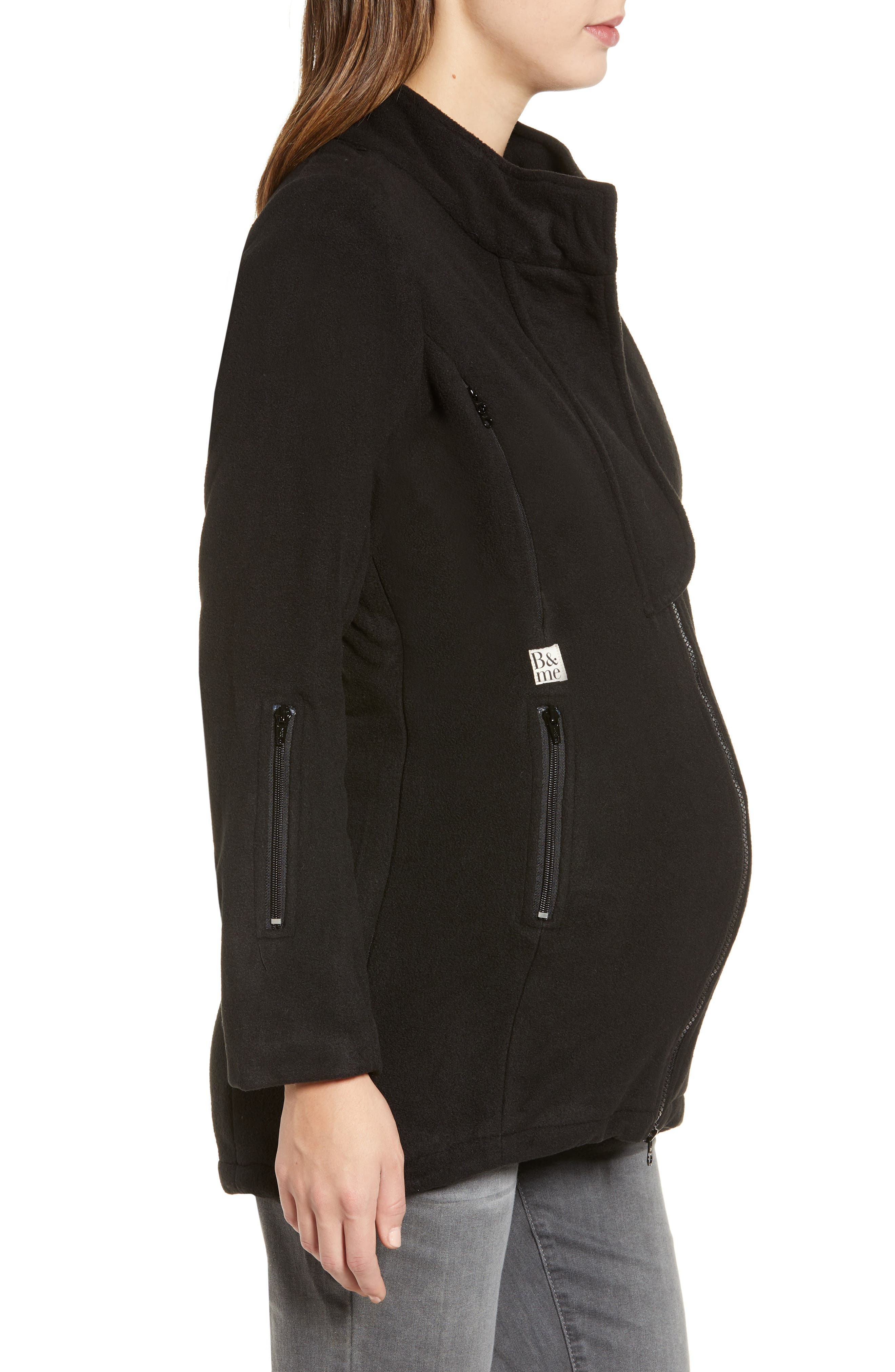 B&ME, Booker Maternity Coat, Alternate thumbnail 3, color, BLACK
