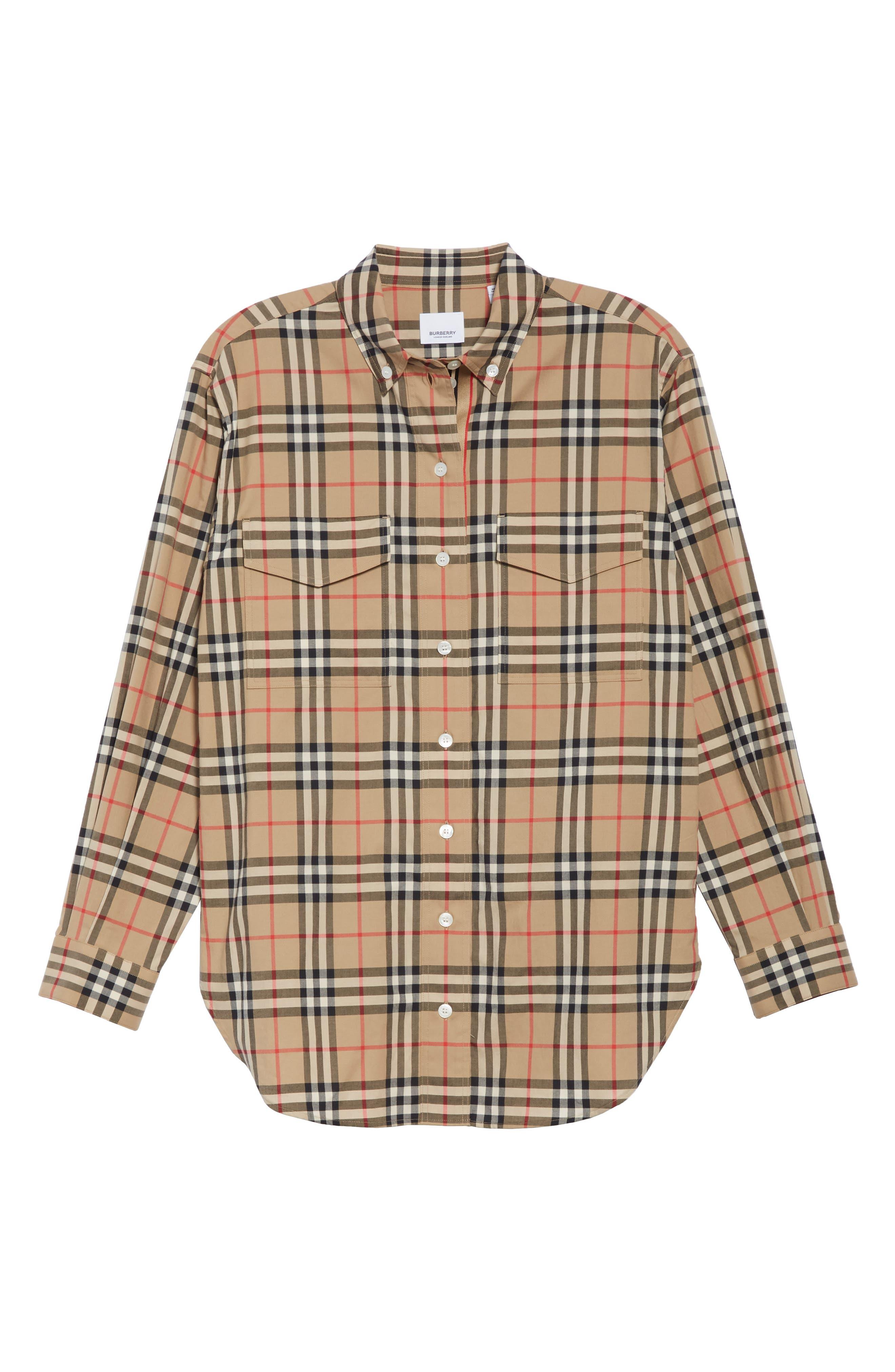 BURBERRY, Turnstone Check Shirt, Alternate thumbnail 6, color, ARCHIVE BEIGE IP CHK