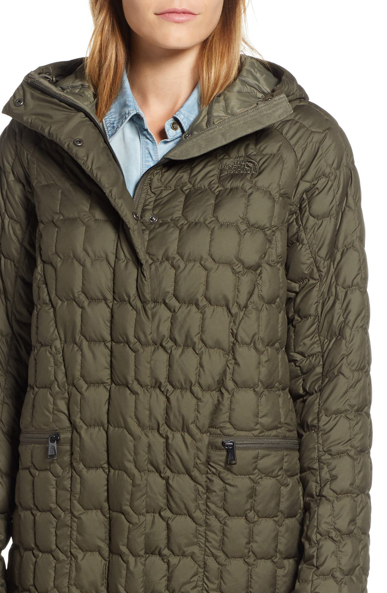 THE NORTH FACE, Thermoball<sup>™</sup> Water Resistant Duster Jacket, Alternate thumbnail 5, color, 301