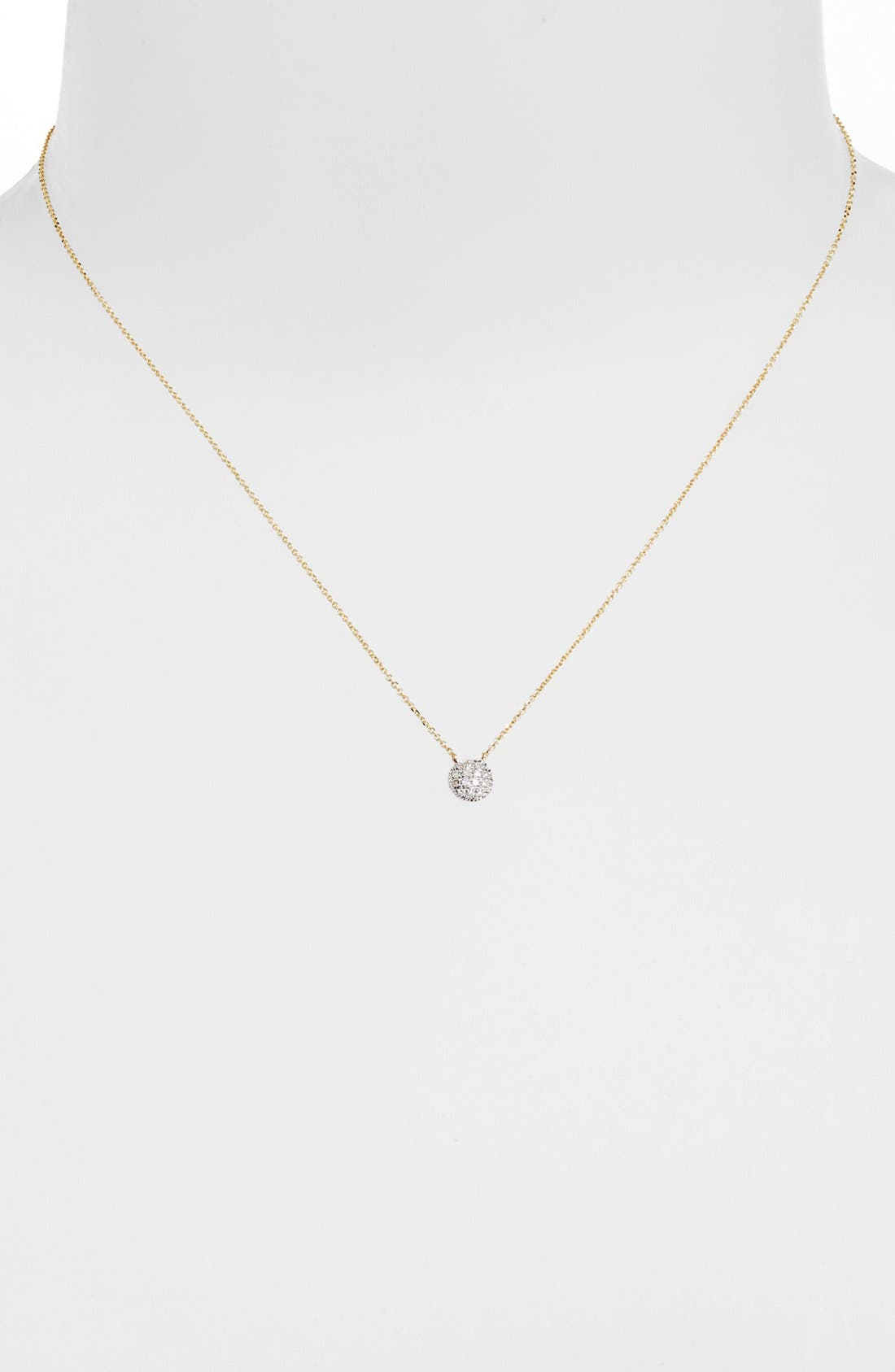 DANA REBECCA DESIGNS, 'Lauren Joy' Diamond Disc Pendant Necklace, Alternate thumbnail 7, color, YELLOW GOLD