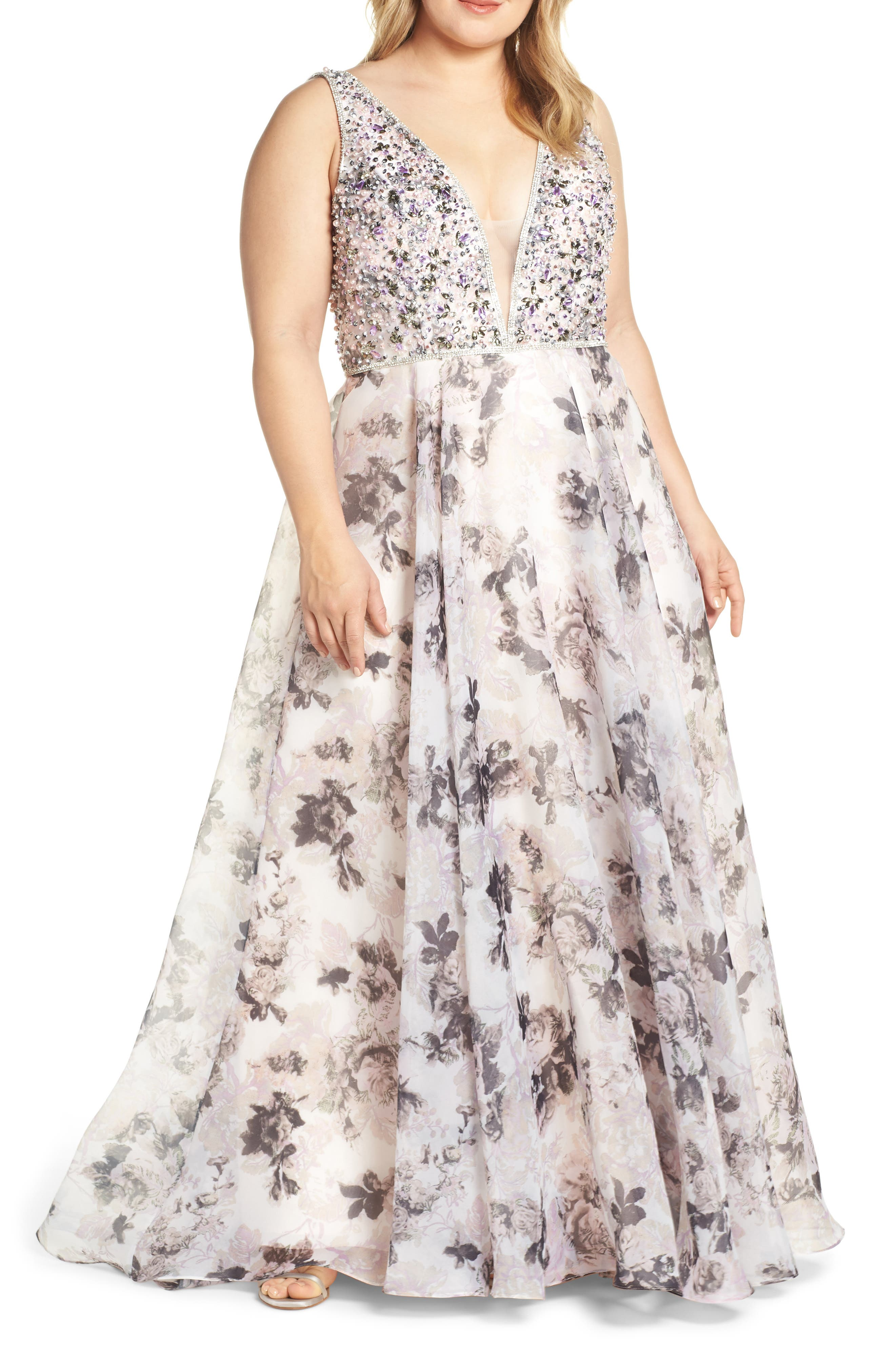 Plus Size MAC Duggal Floral Print Illusion V-Neck Evening Dress, Pink
