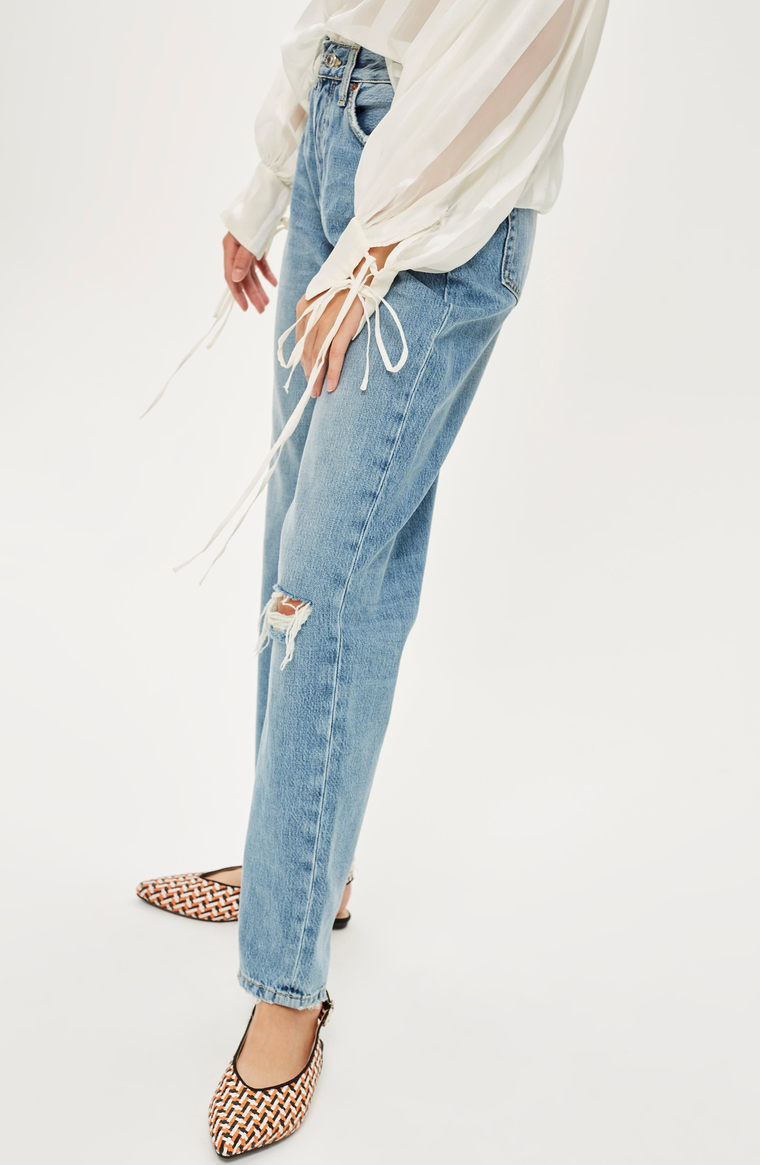TOPSHOP, One Rip New Boyfriend Jeans, Alternate thumbnail 5, color, 420