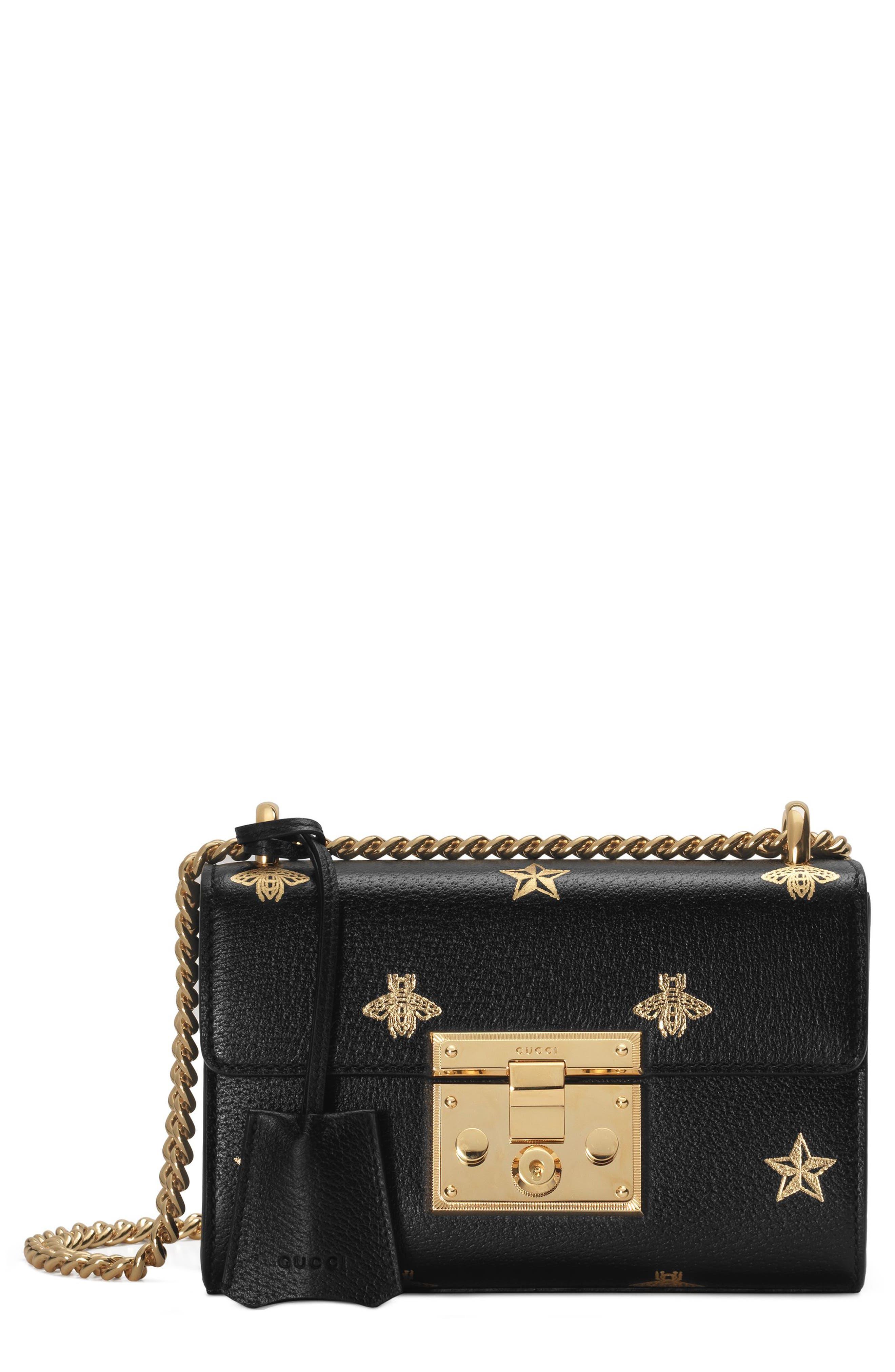 GUCCI, Mini Padlock Leather Shoulder Bag, Main thumbnail 1, color, NERO/ ORO