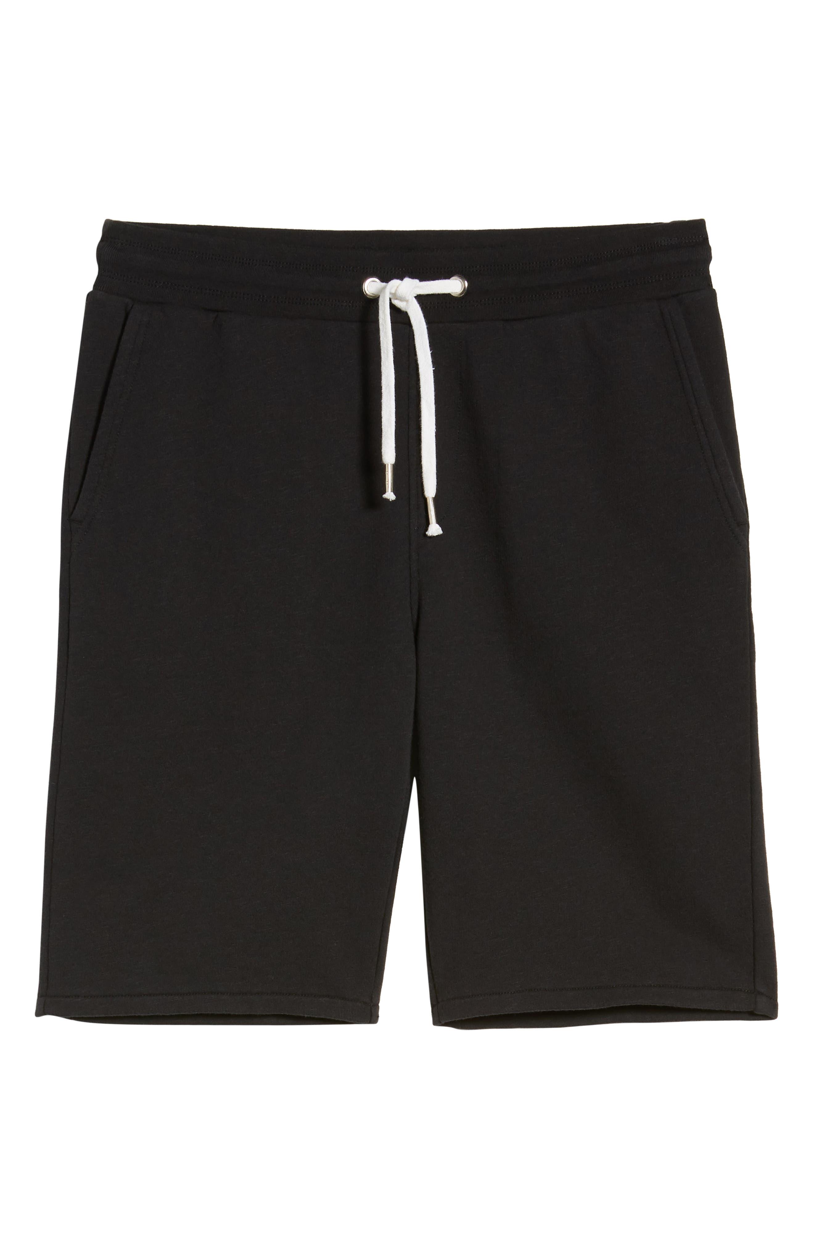 THE RAIL, Terry Athletic Shorts, Alternate thumbnail 6, color, BLACK ROCK