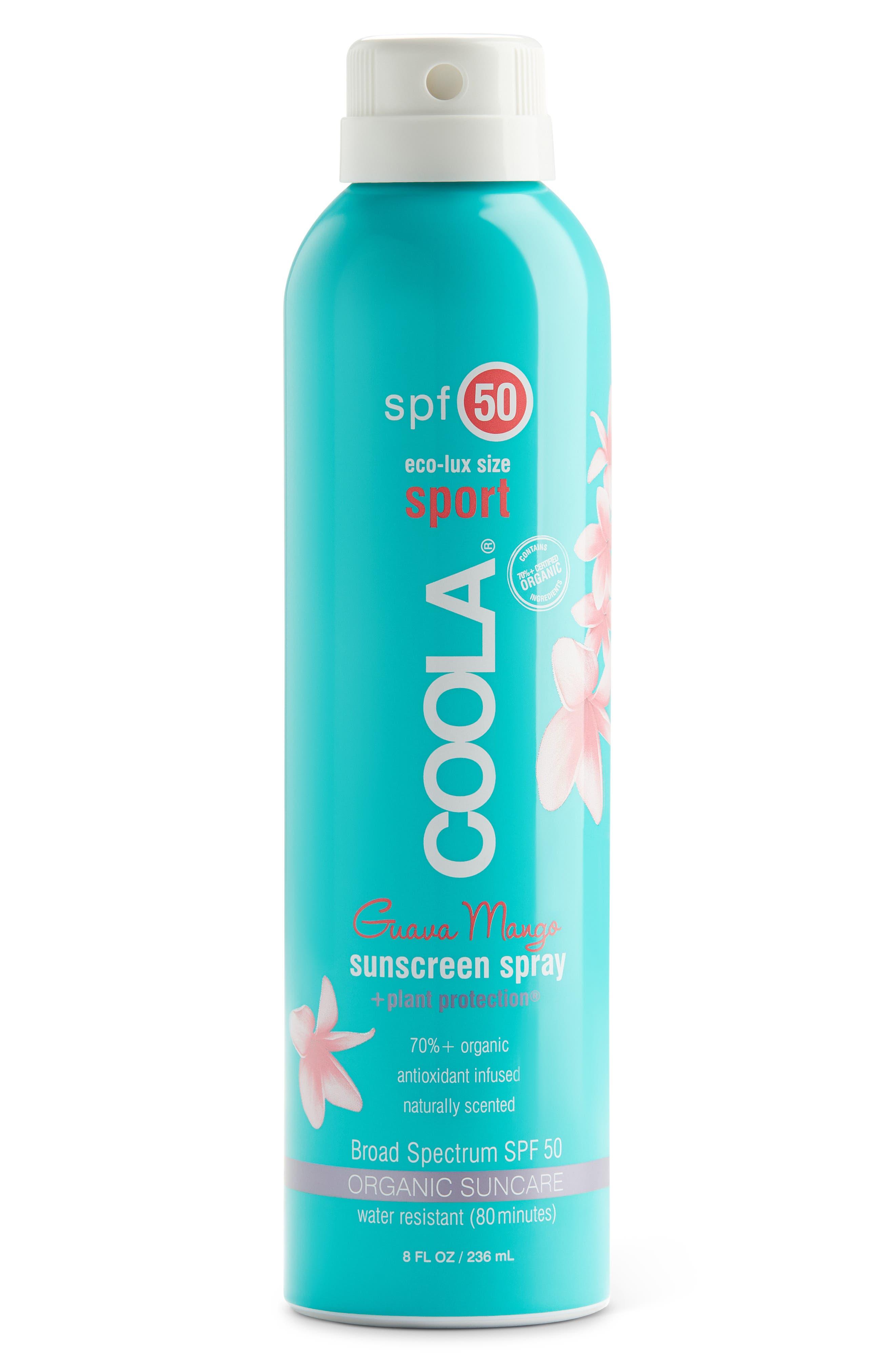 COOLA SUNCARE, COOLA<sup>®</sup> Suncare Guava Mango Eco-Lux Sport Sunscreen Spray SPF 50, Main thumbnail 1, color, NO COLOR