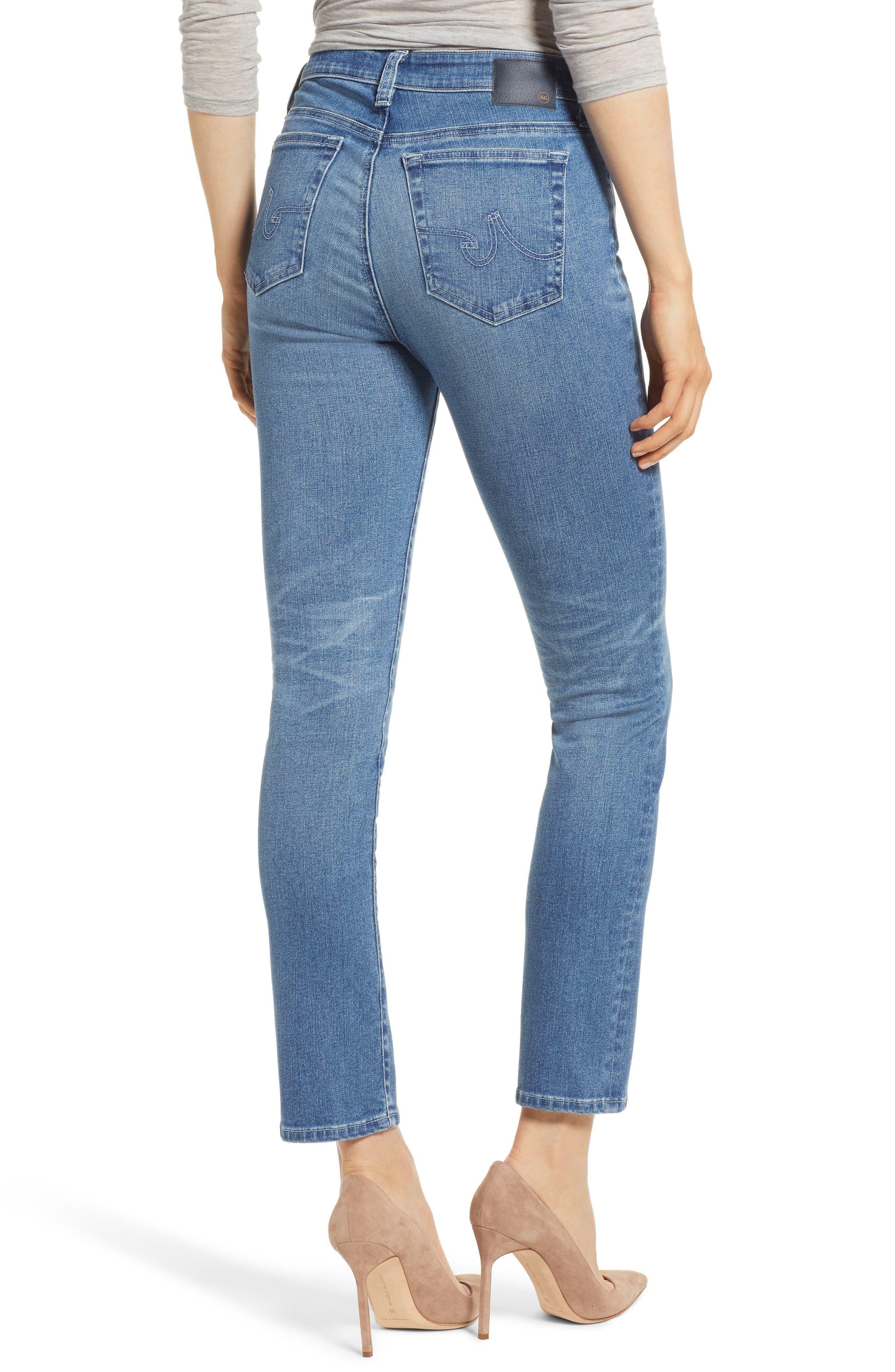 AG, Mari High Waist Slim Straight Leg Jeans, Alternate thumbnail 2, color, 16 YEARS SERENITY