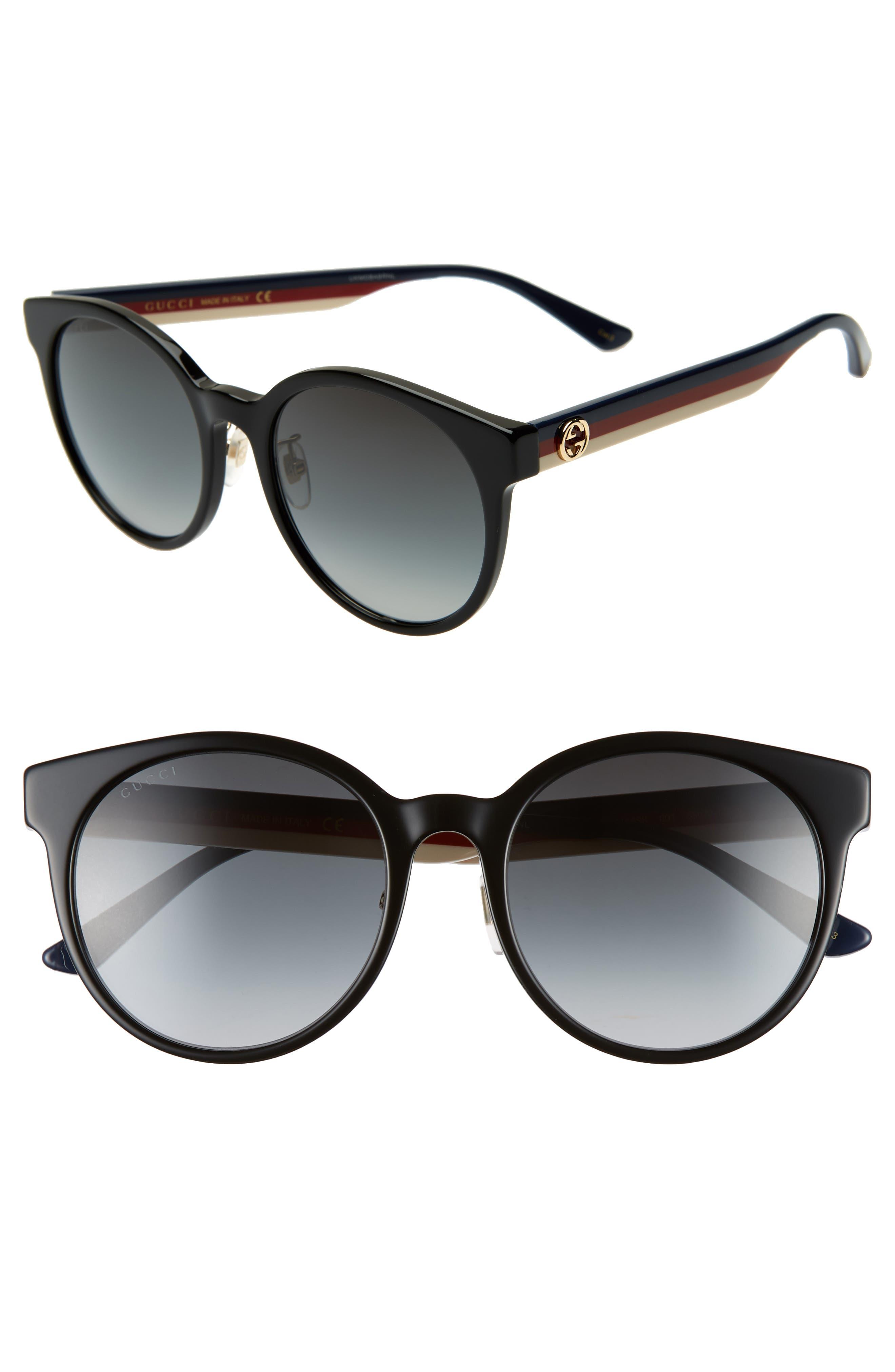 GUCCI, 55mm Round Sunglasses, Main thumbnail 1, color, BLACK/ MULTI/ GREY GRADIENT