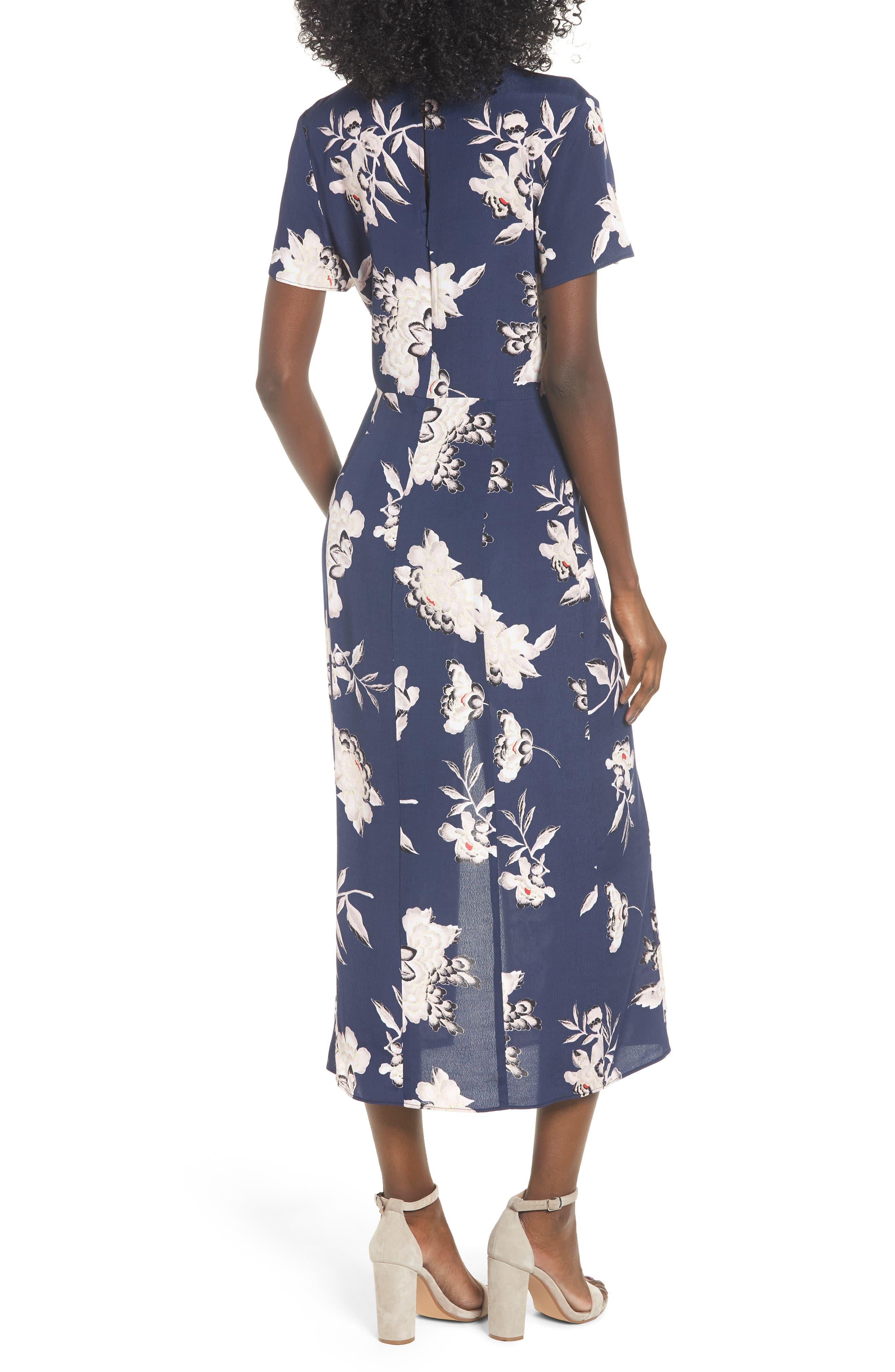 LEITH, Print Midi Dress, Alternate thumbnail 2, color, NAVY PEACOAT KIMONO FLORAL