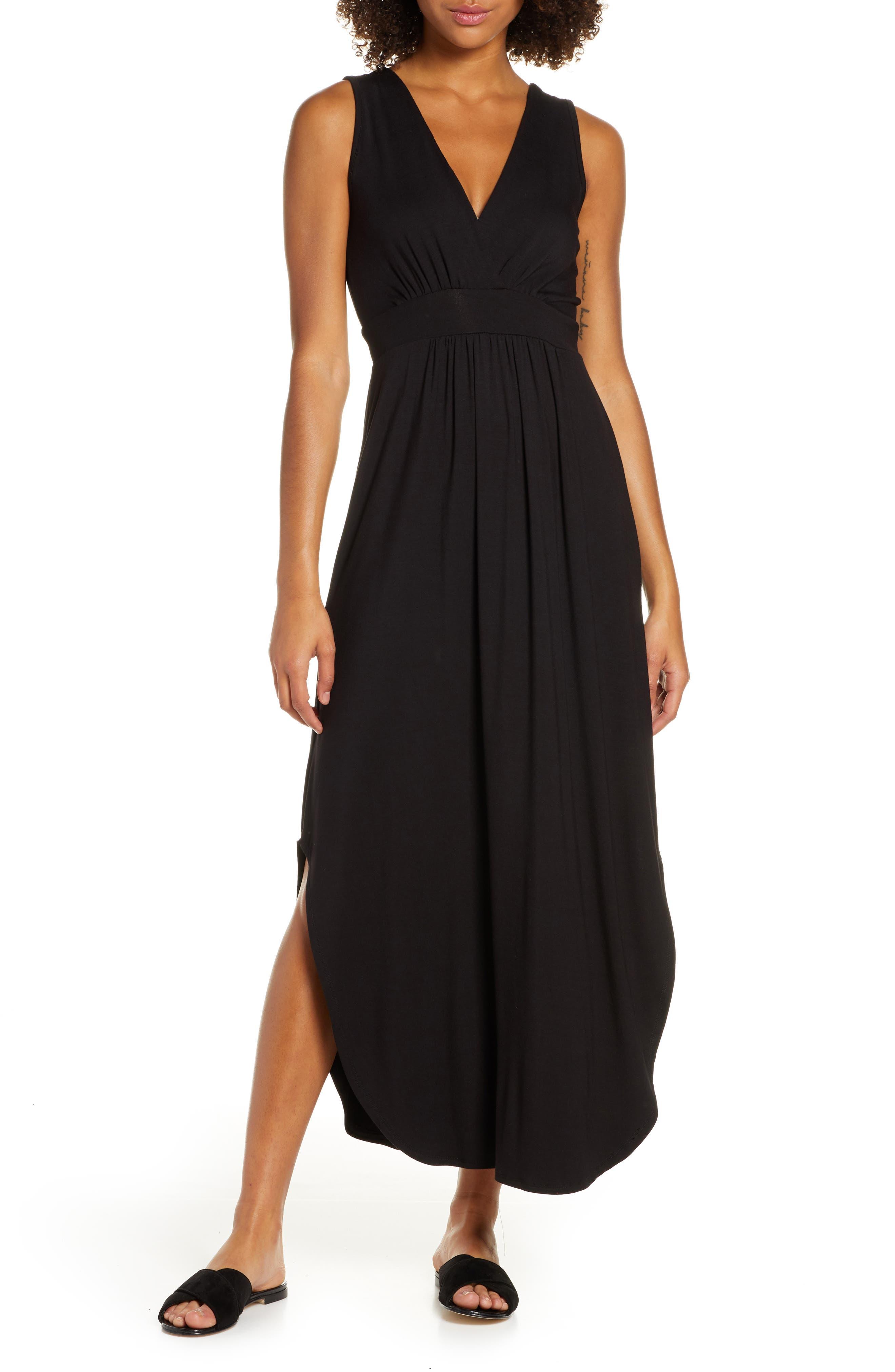 Fraiche By J V-Neck Jersey Dress, Black
