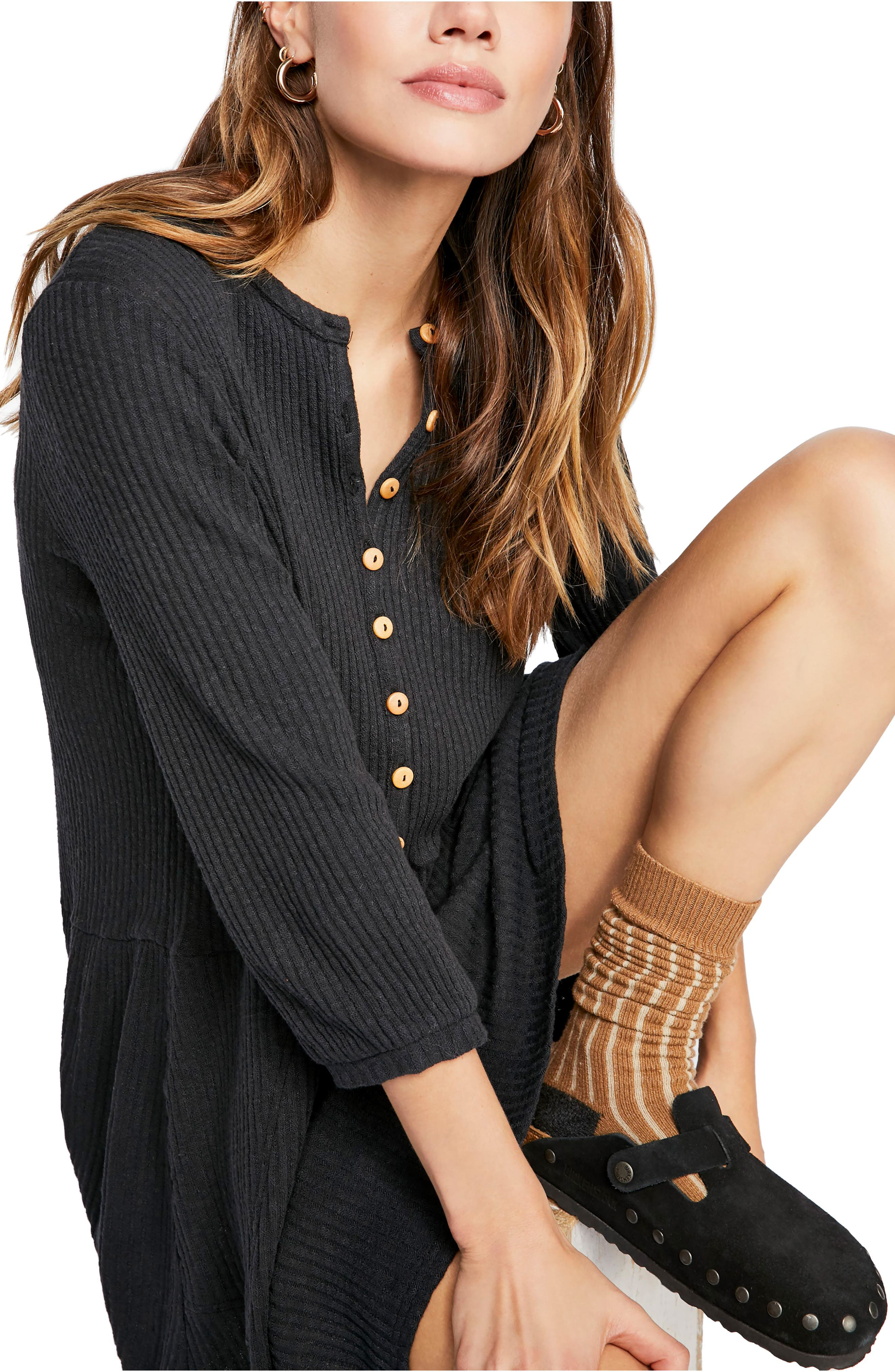 FREE PEOPLE, Endless Summer by Free People Blossom Stretch Cotton Dress, Alternate thumbnail 4, color, BLACK