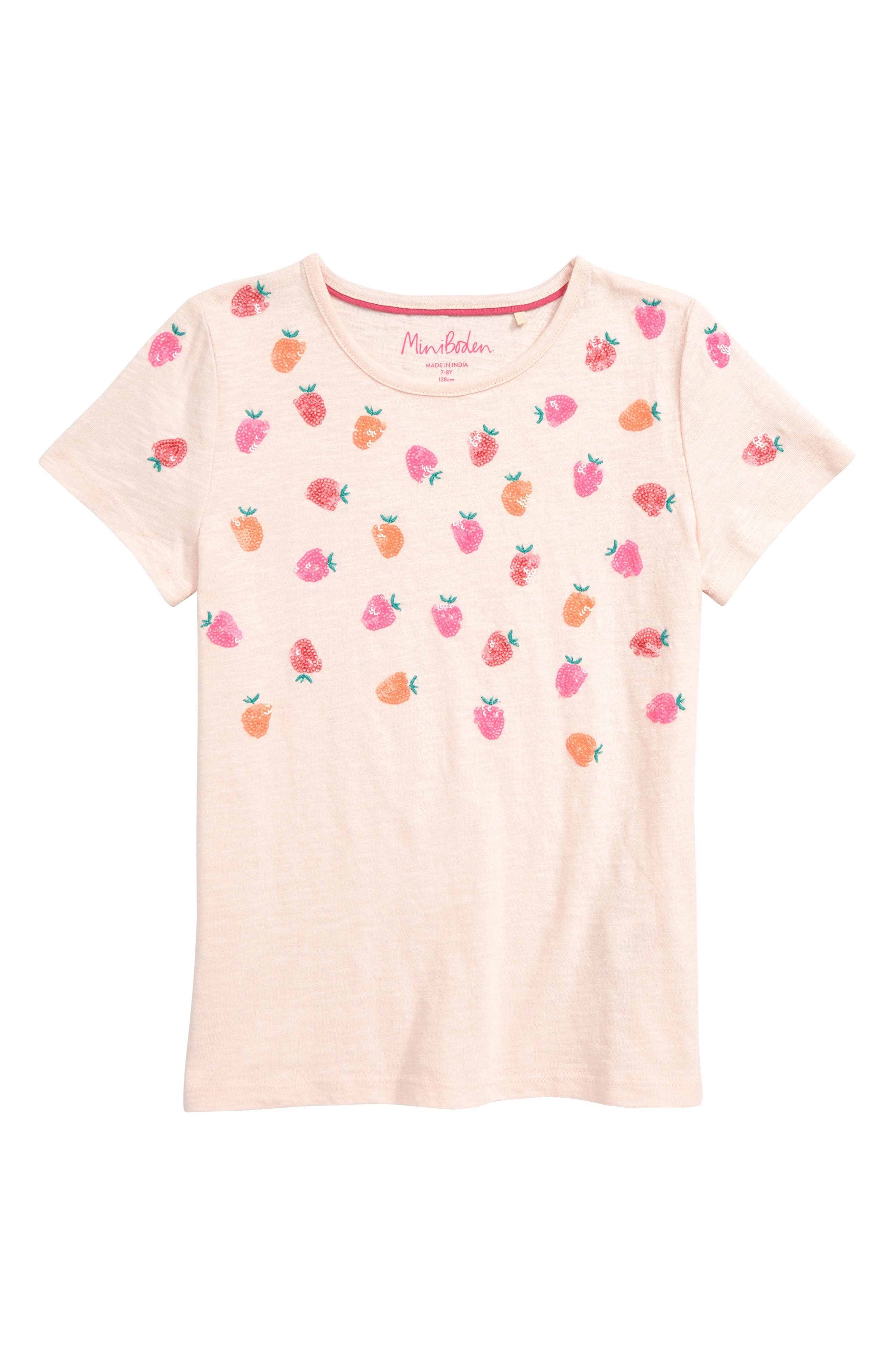 MINI BODEN Boden Scattered Sequin Star Tee, Main, color, PNK PARISIAN PINK STRAWBERRIES