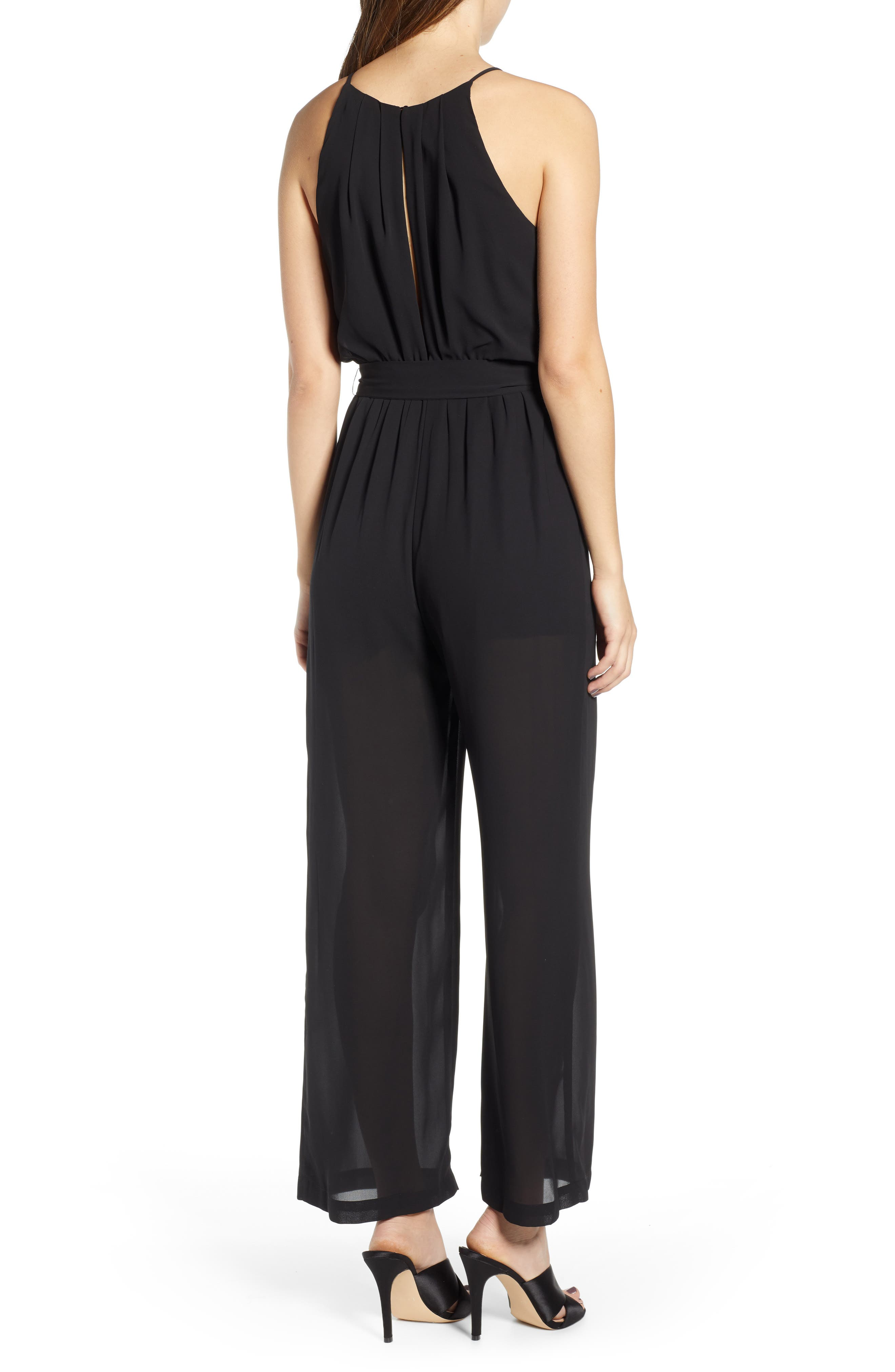 ALL IN FAVOR, Blouson Chiffon Jumpsuit, Alternate thumbnail 2, color, BLACK
