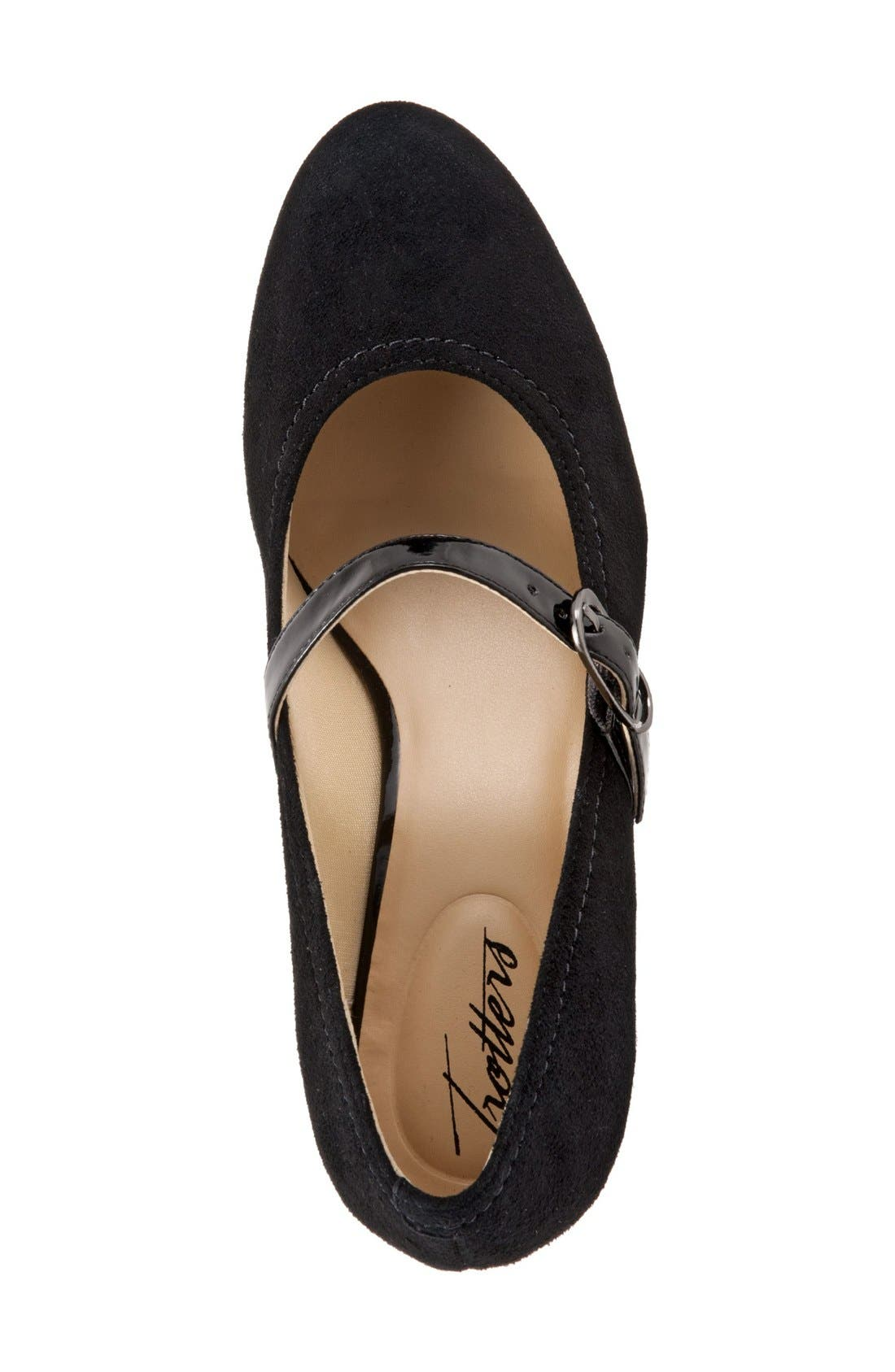 TROTTERS, 'Candice' Mary Jane Pump, Alternate thumbnail 2, color, BLACK SUEDE